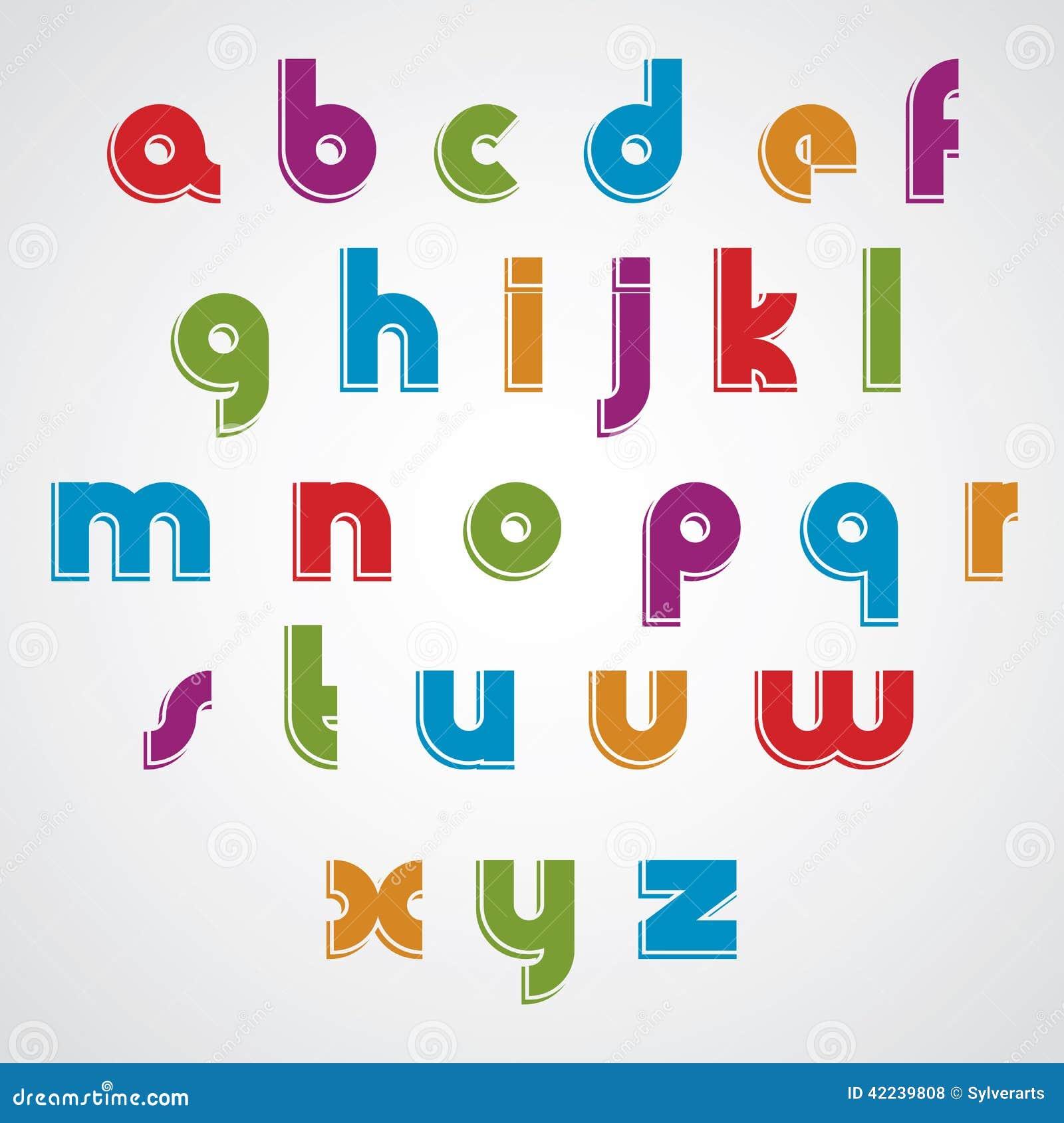 fonte lisa dos desenhos animados coloridos letras minúsculas