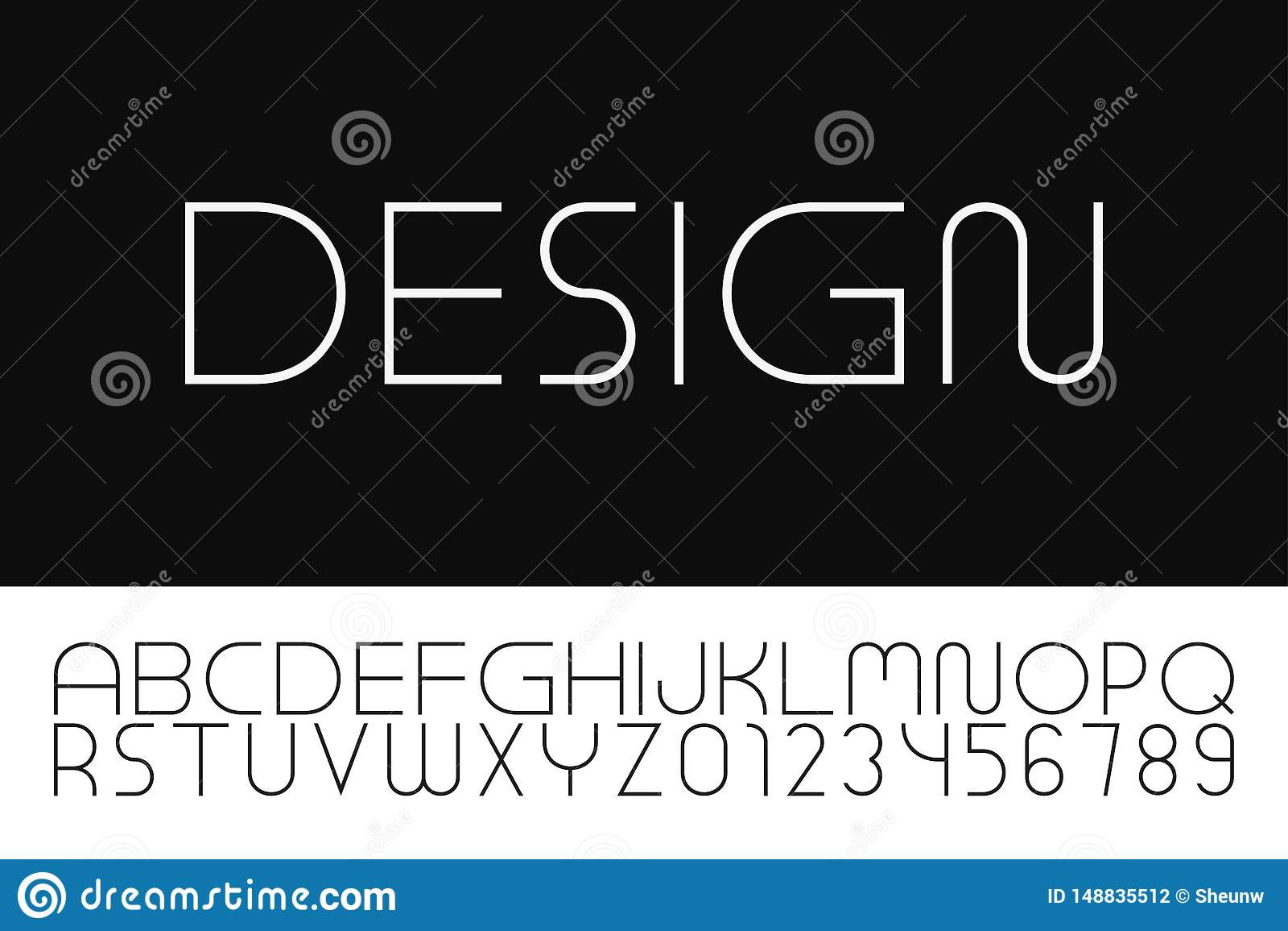 Fonte minimalistic do desenhista do vetor Alfabeto ingl?s na moda Letras e numerais simples finos de latino