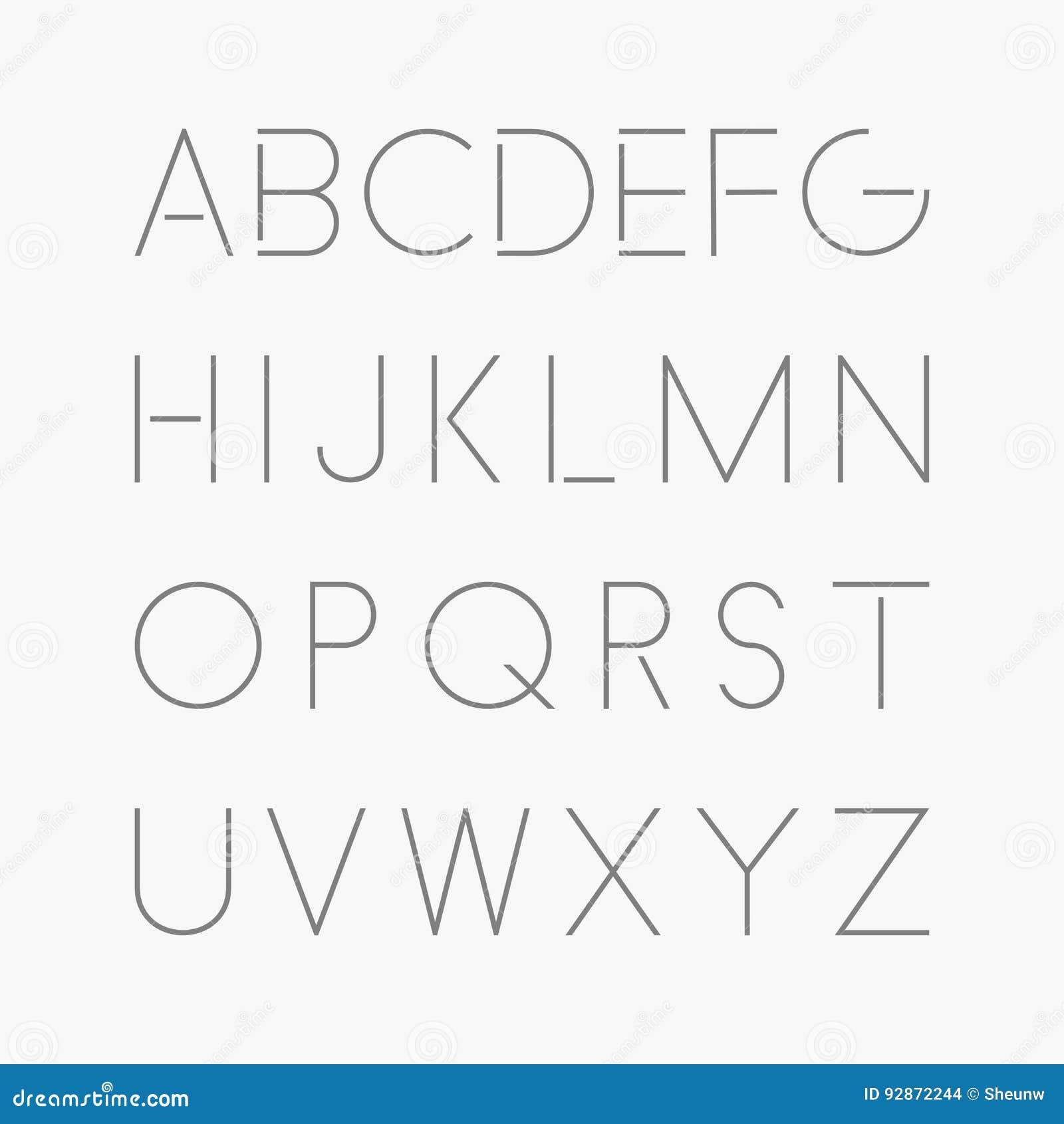Fonte minimalistic fina Alfabeto inglês do vetor