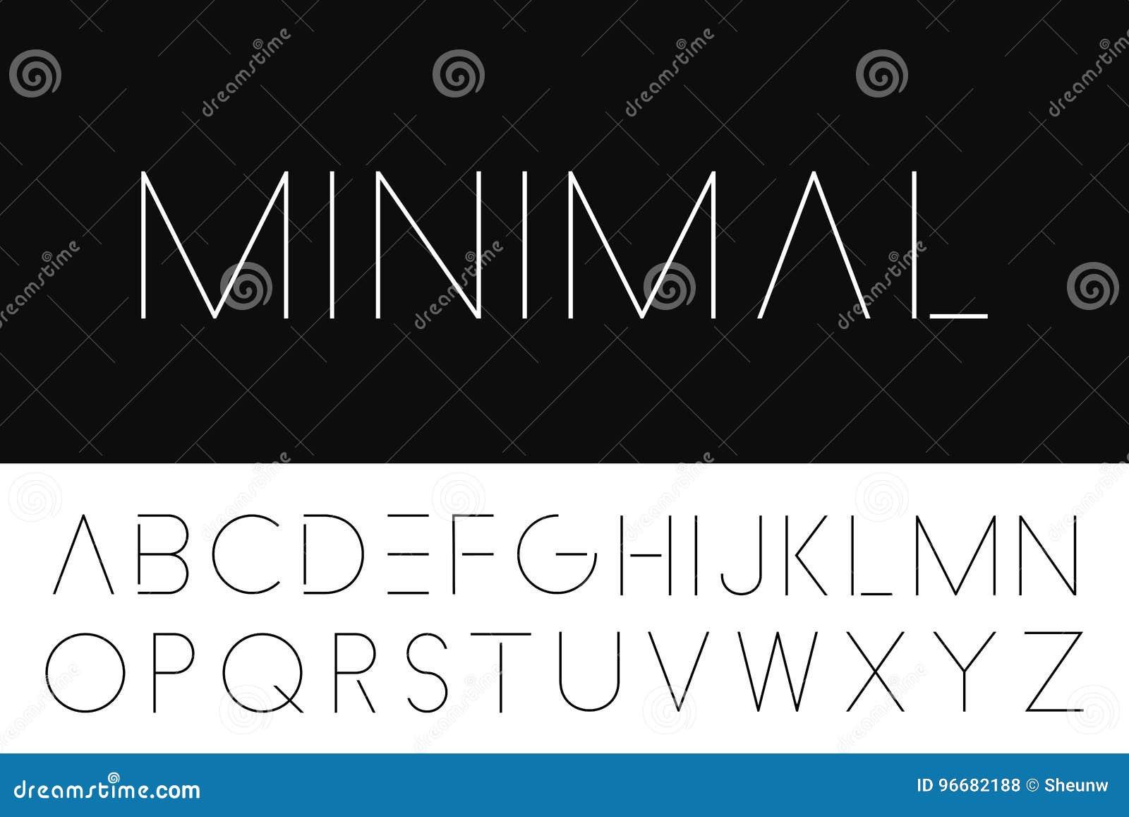 Fonte minimalistic fina Alfabeto inglês elegante
