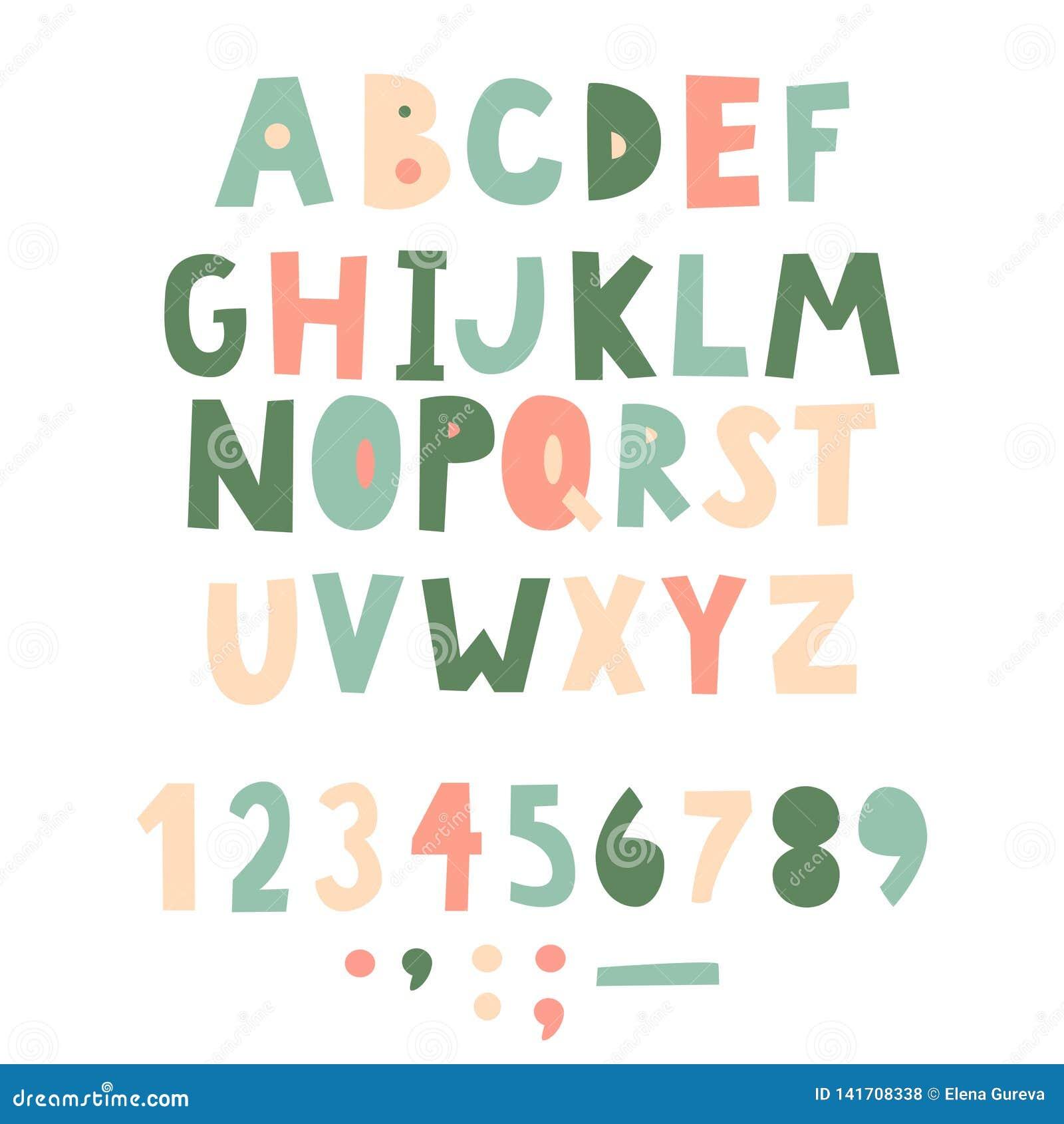Fonte puerile scritta a mano audace Lettere semplici per la decorazione Progettazione dei bambini