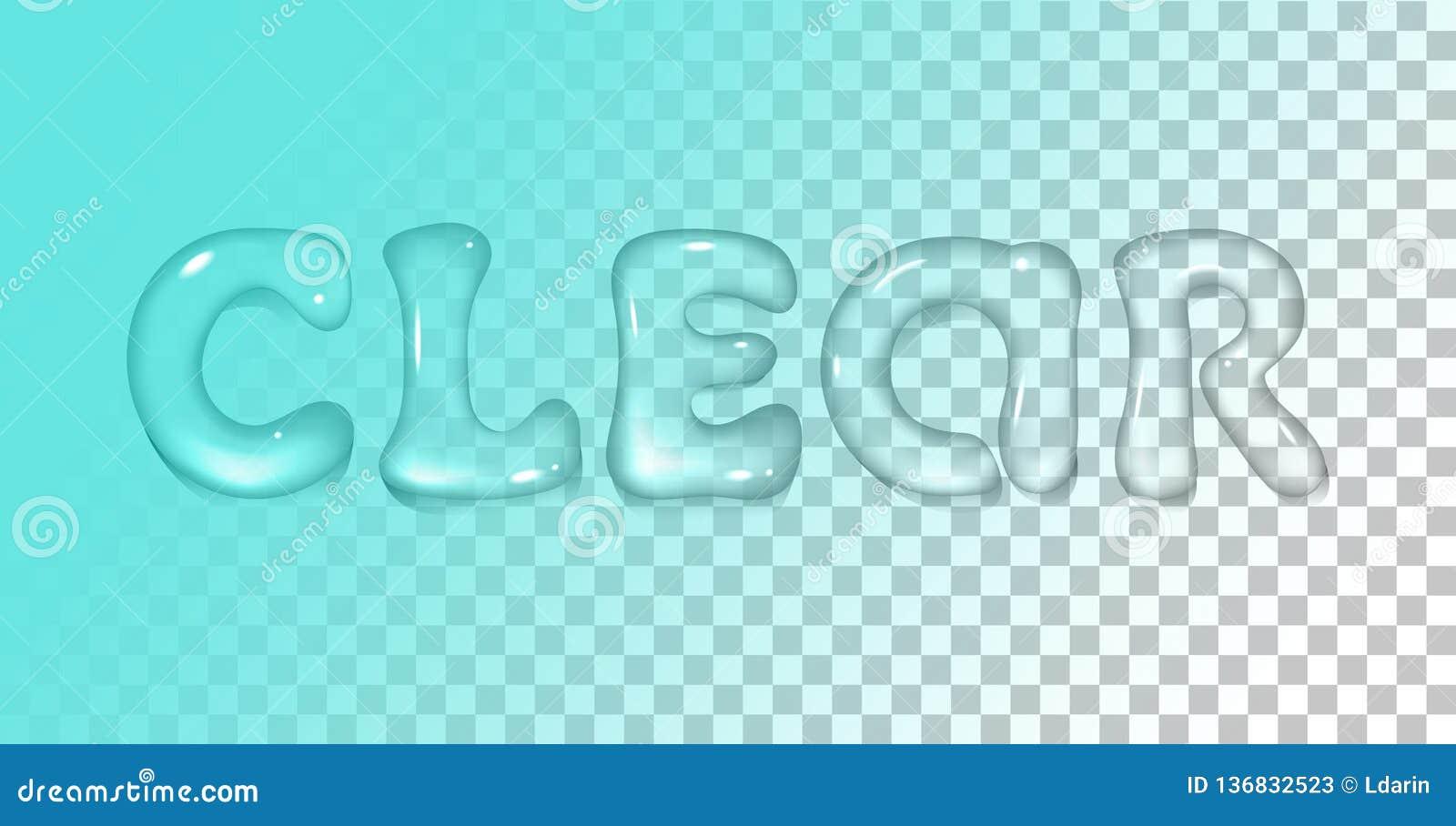 Fonte realistica dell acqua di vettore su fondo trasparente Iscrizione della radura con lettere