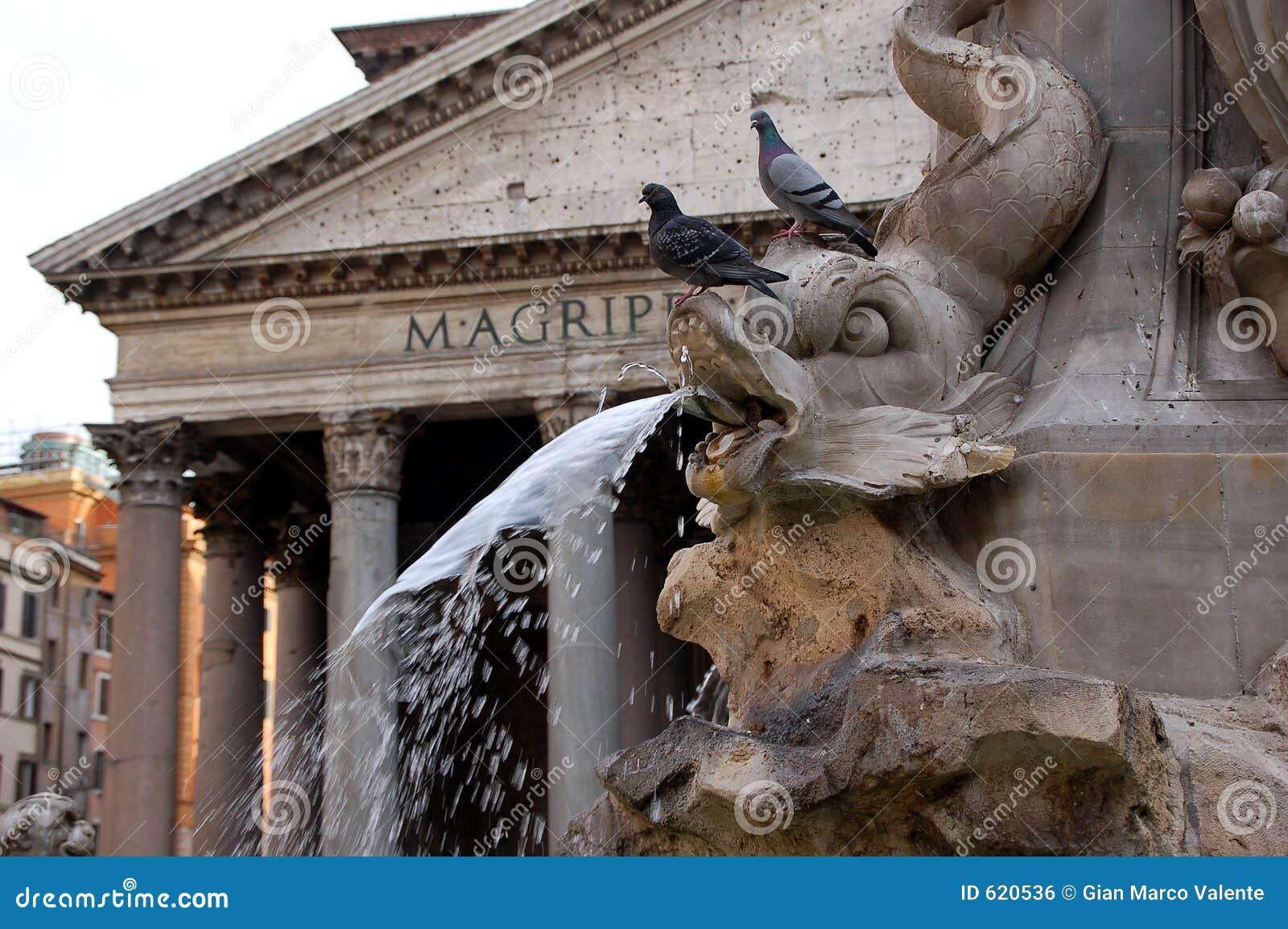 Fontein en Pantheon - Rome