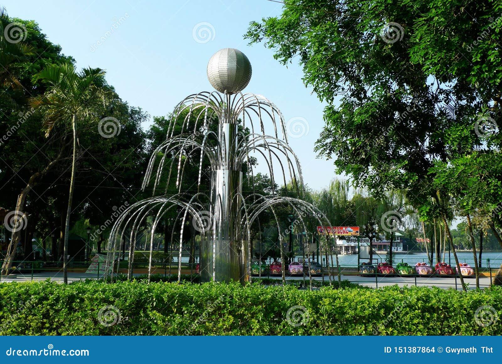 Fontein op het centrum van het stadspark