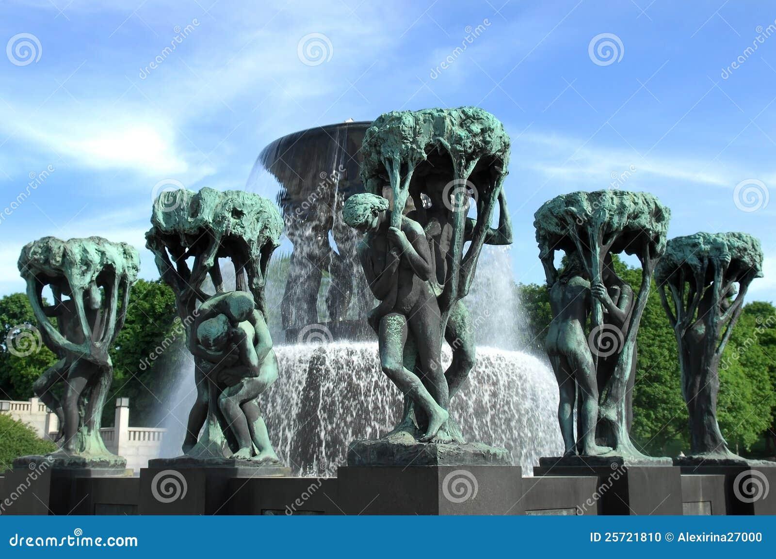 Fontein in Vigeland park Oslo