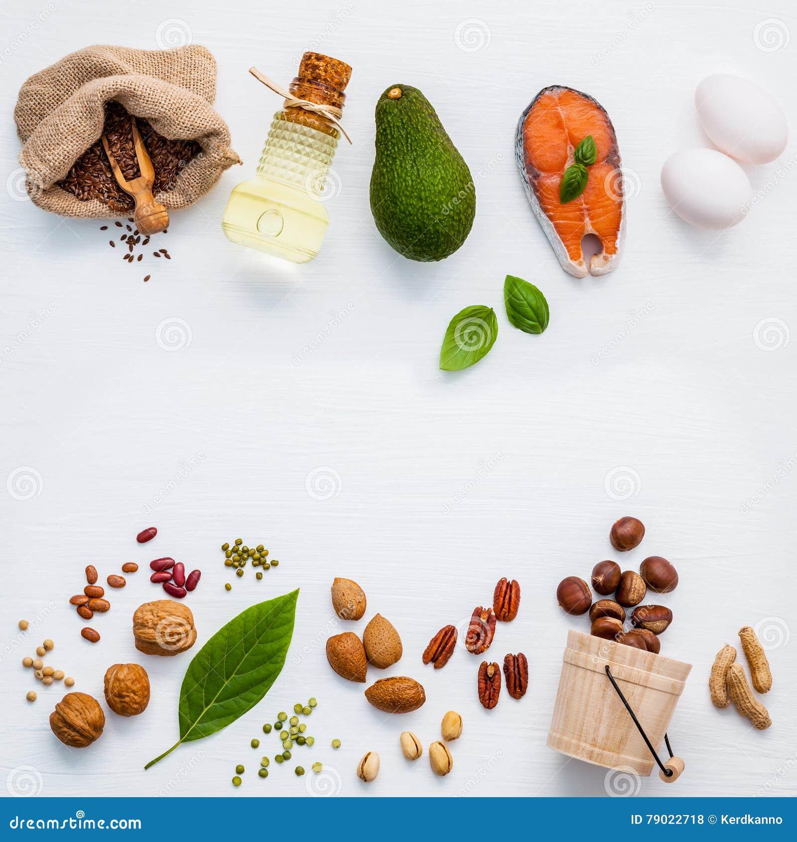 Fontes do alimento da seleção da ômega 3 Ômega alta 3 do alimento super e