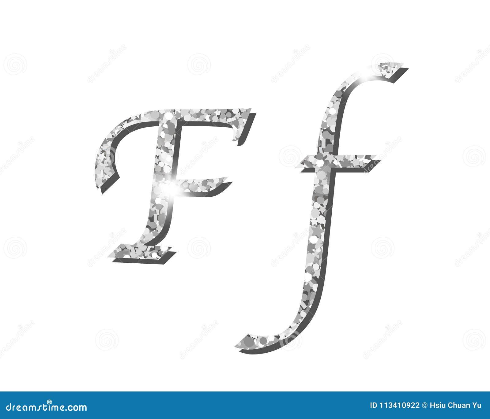 Fontes tipográficas luxuosas de prata Shinning do alfabeto