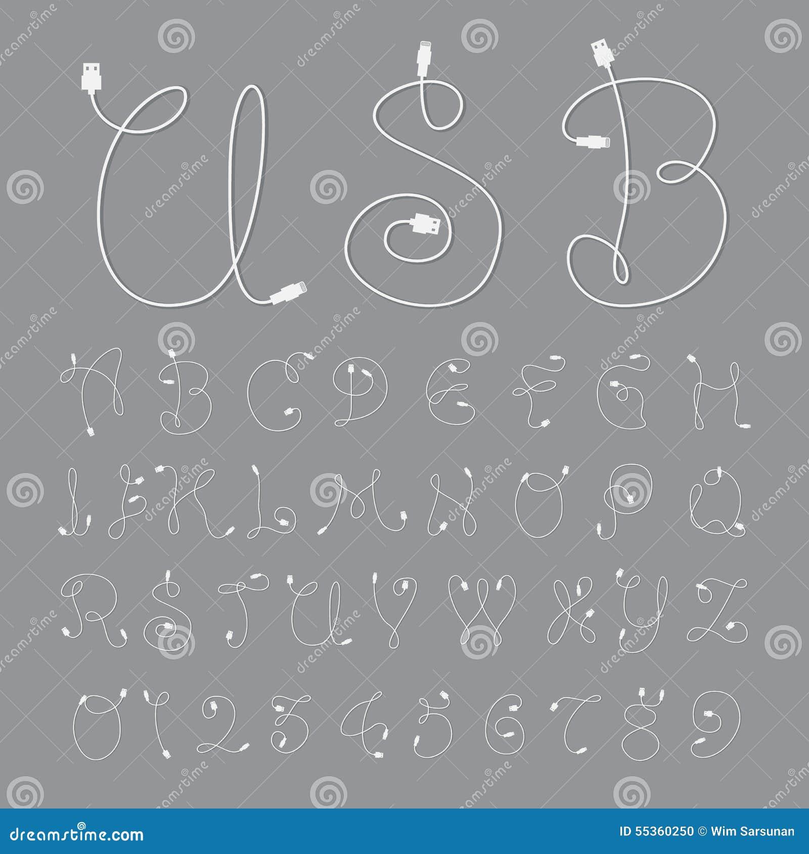 Fonti alfabetiche e numeri con stile del usb