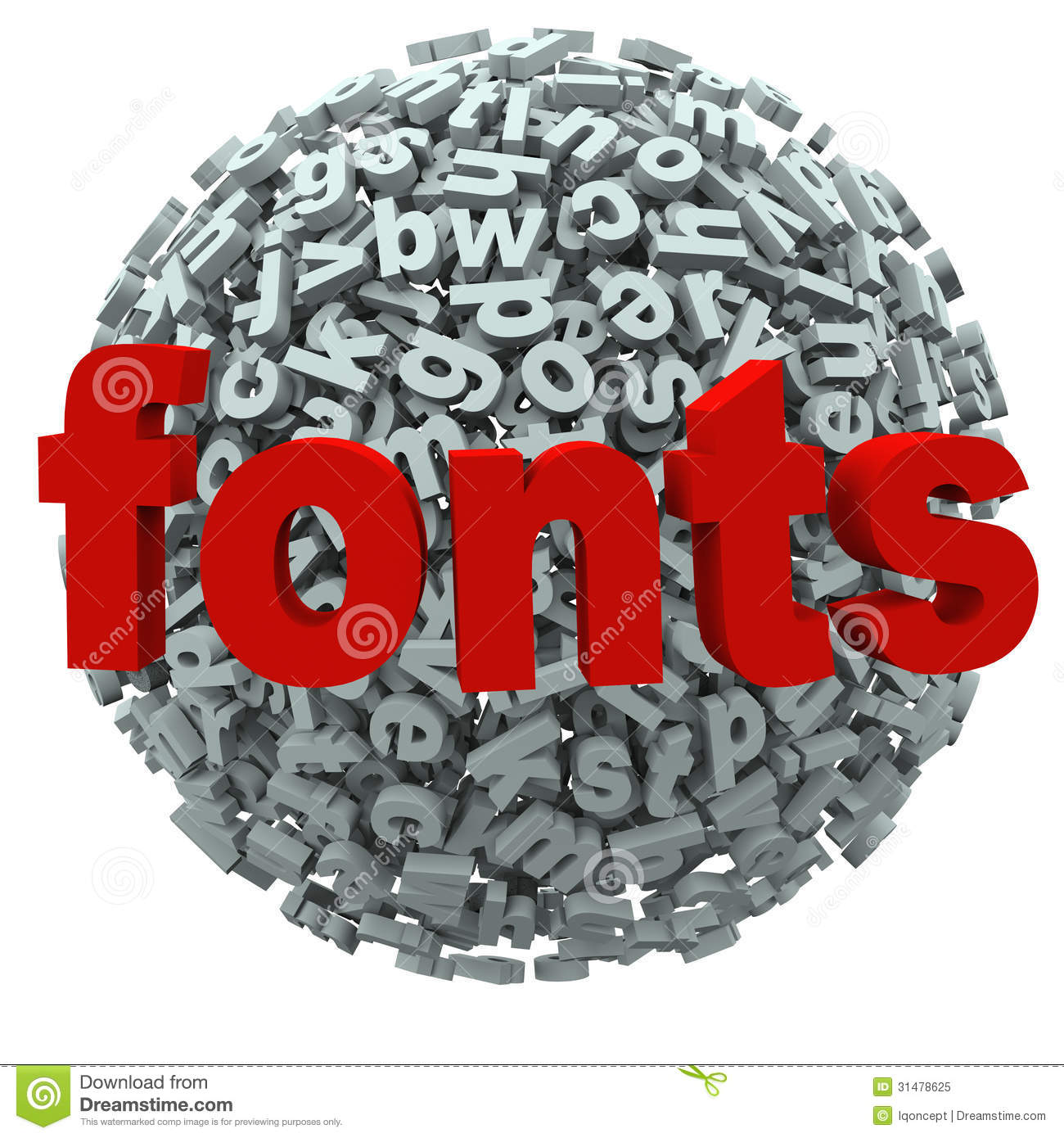 Fonts Word Typography Letters Sphere Stock Illustration ...