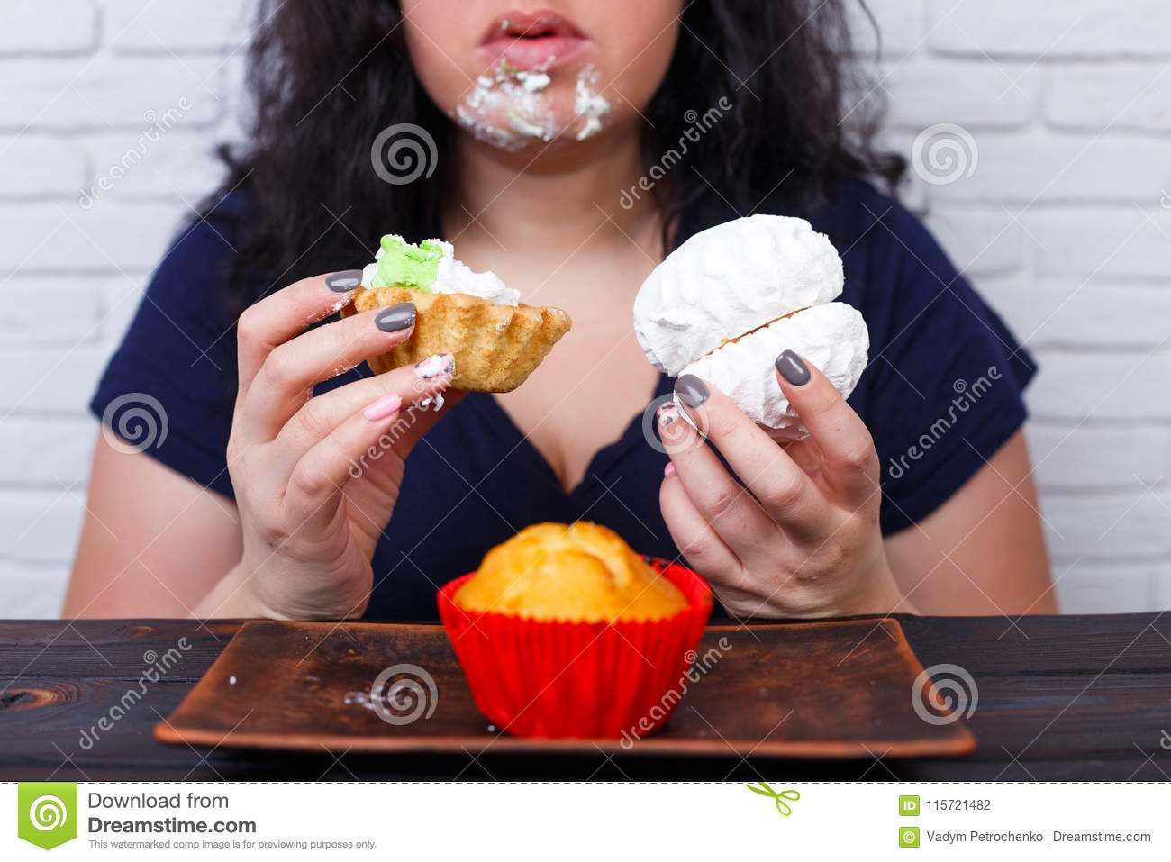 Food addiction, dieting concept. Young overweight woman fed up w