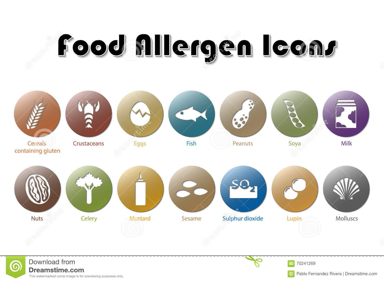 Food allergen icons stock illustration image 70241269