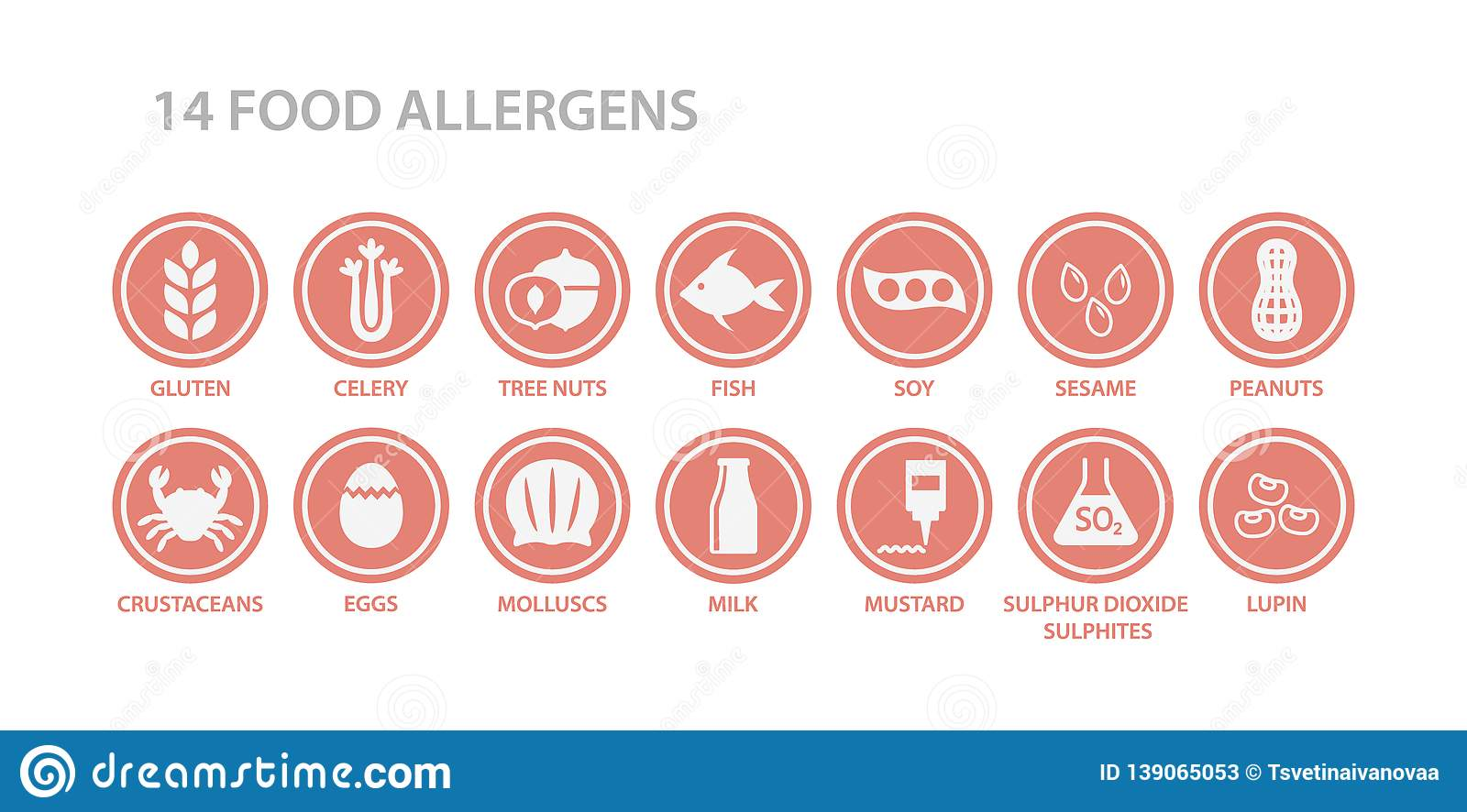 14 food allergens menu list circle icon set. Food allergen white icons in pink circles.