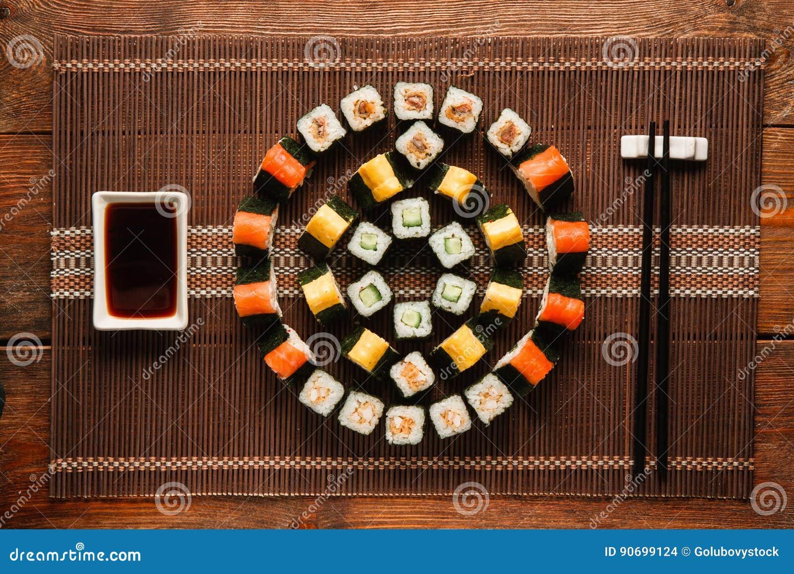 Food Art Colorful Ornament Of Sushi Flat Lay Stock Photo Image Of Bright Nori 90699124