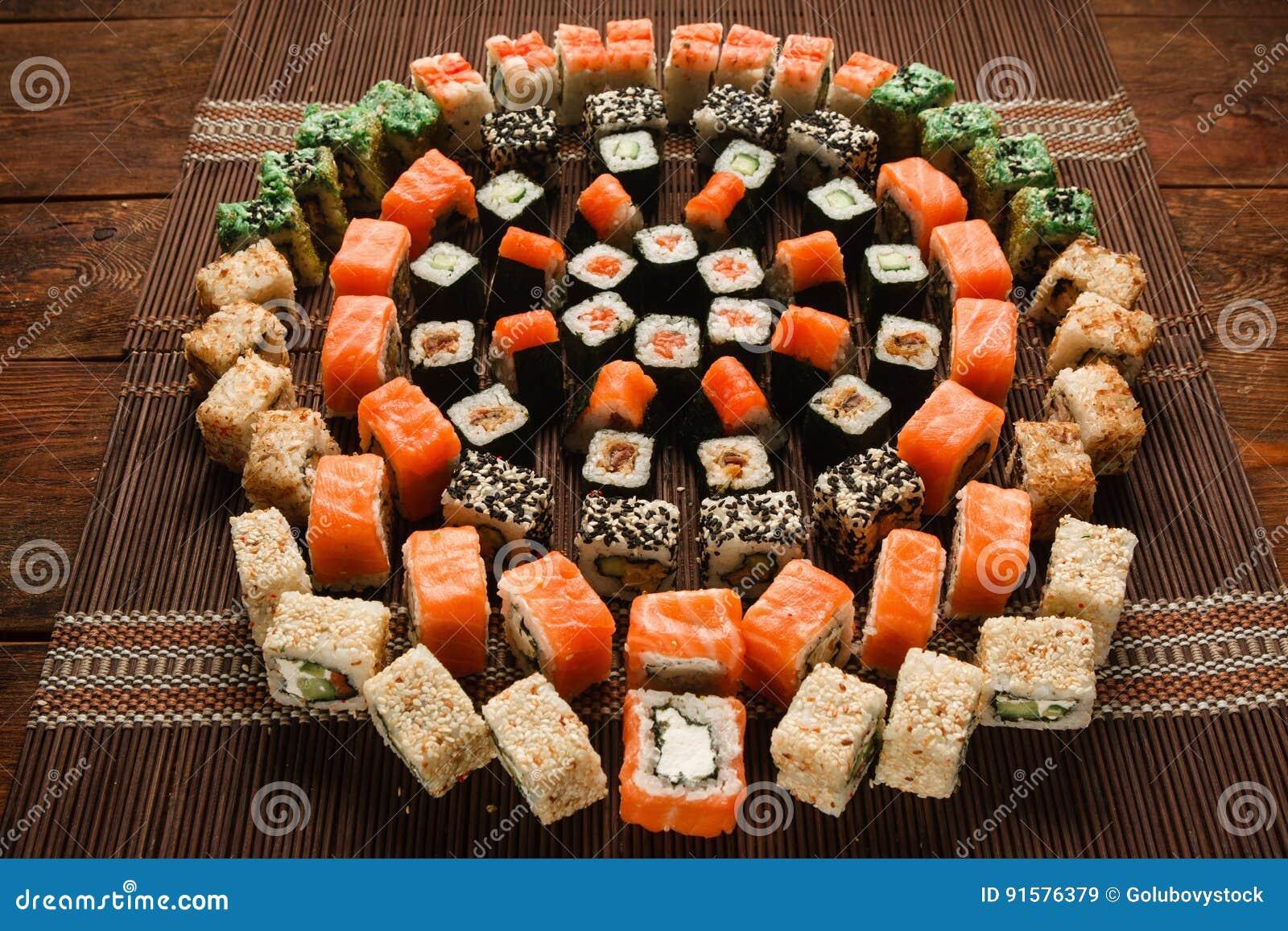 Food Art Sushi Roll Ornament Japanese Restaurant Stock Image Image Of Fish Asia 91576379