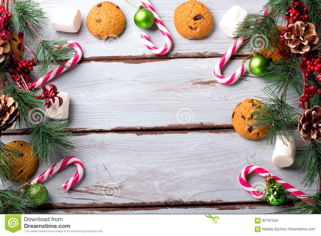 Food Background With Chocolate Chip, Cookies, Marshmallows And Candy ...
