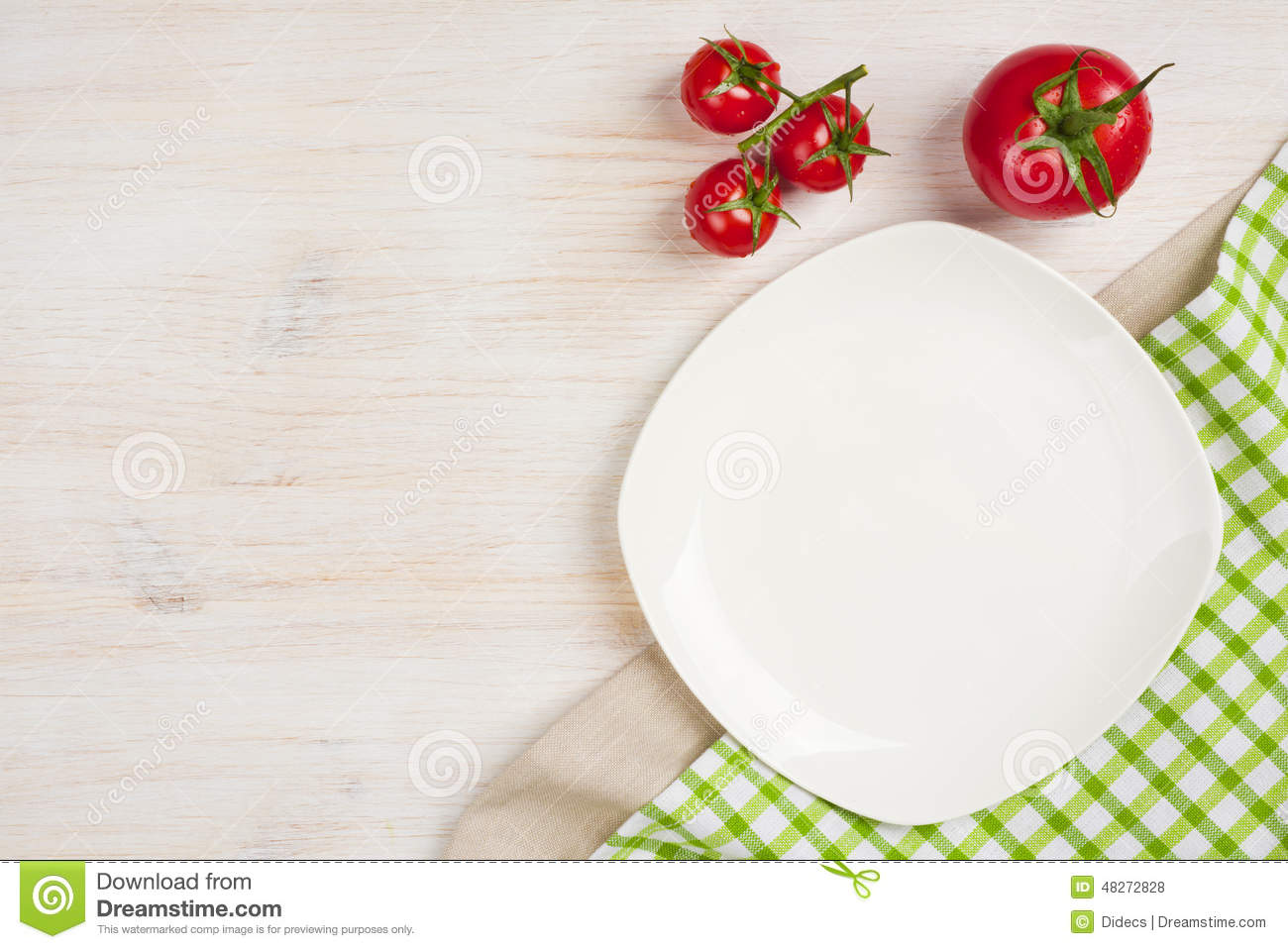 Food Background With Empty Plate Tomatos And Kitchen