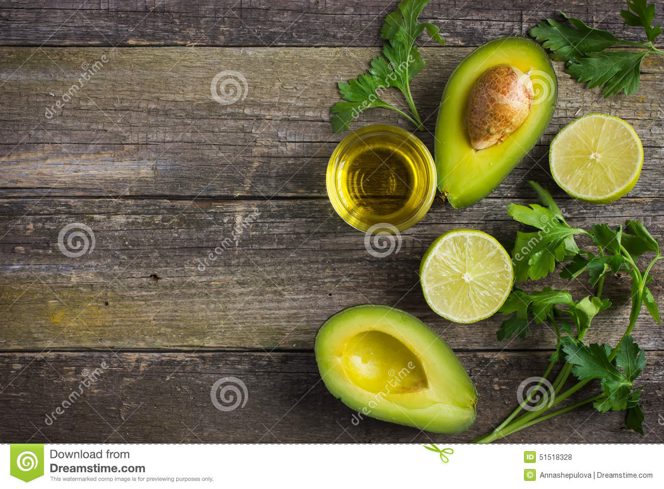 Food Background With Fresh Organic Avocado Lime Parsley