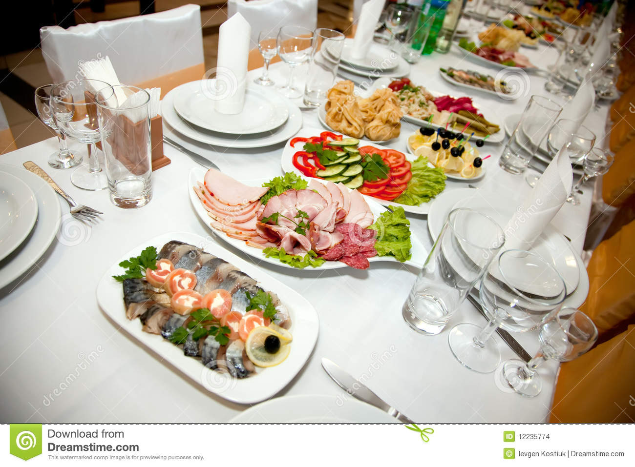 Food At Banquet Table Stock Photo Image Of Spoon
