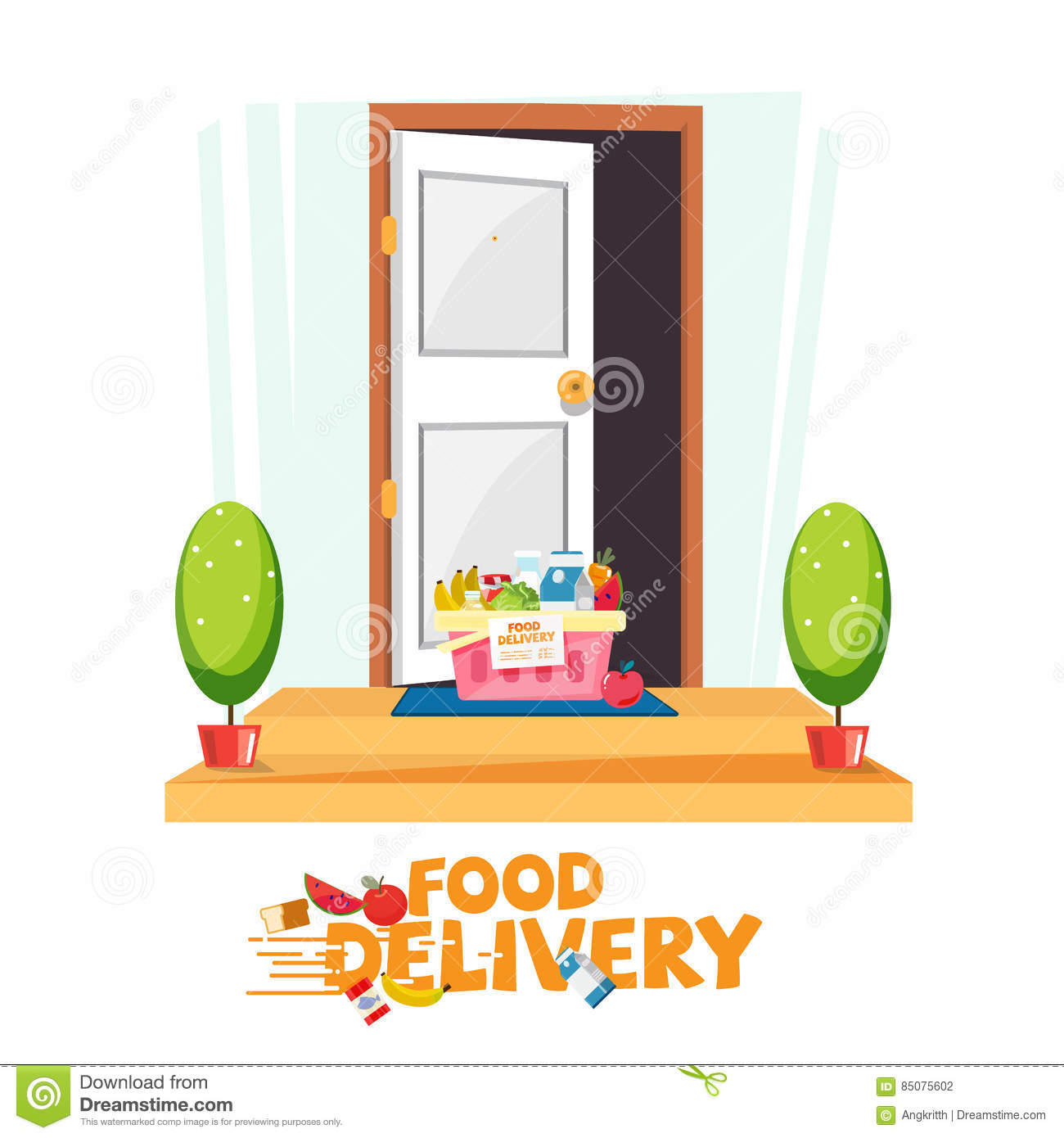 Food In Basket In Front Of The Door. Delivery Food Service Conce ...