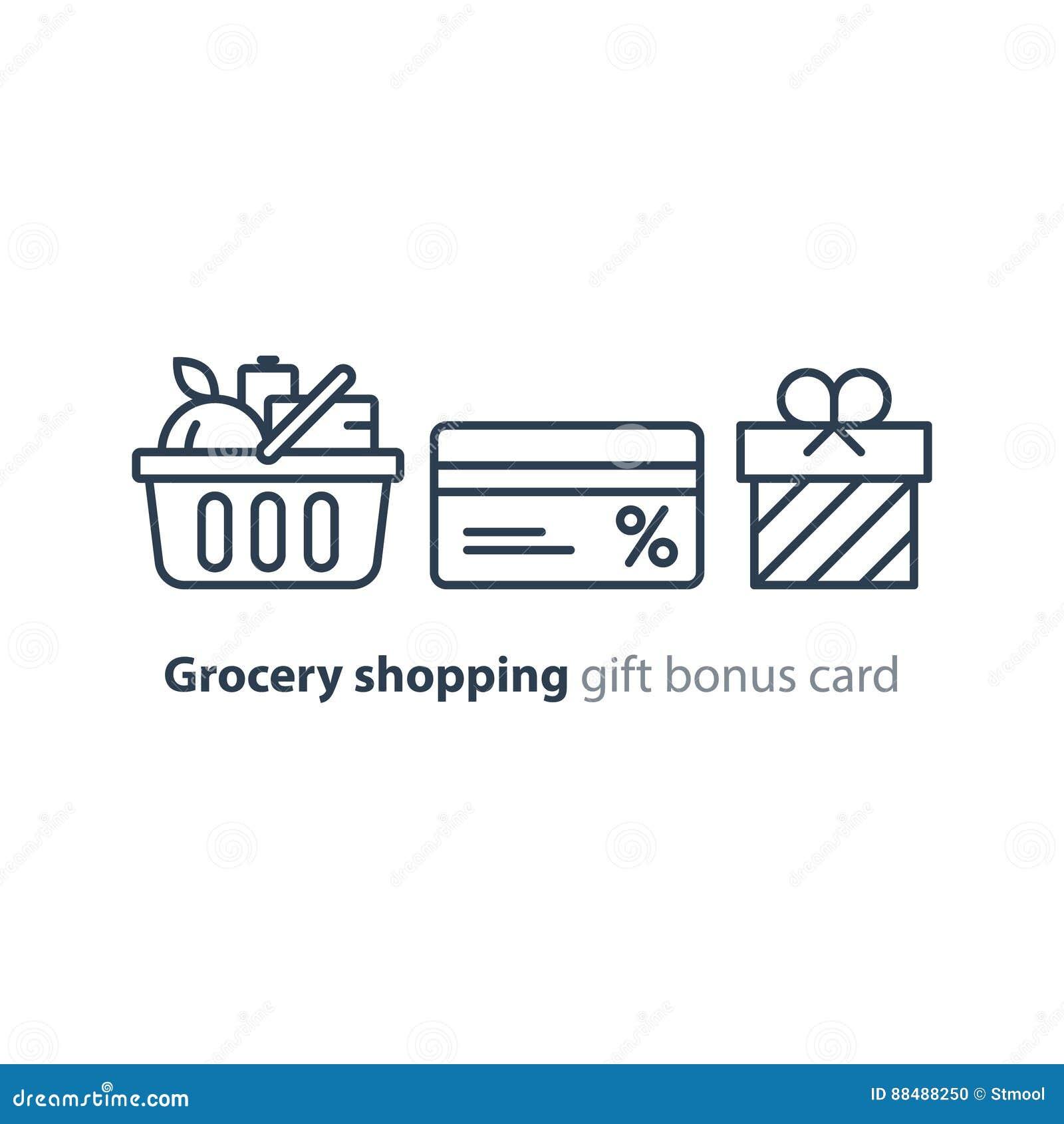 Food basket, grocery order, shop special offer, bonus discount.