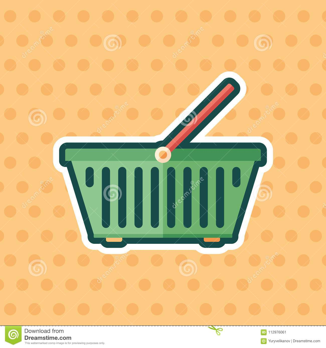 Food basket sticker flat icon with color background.