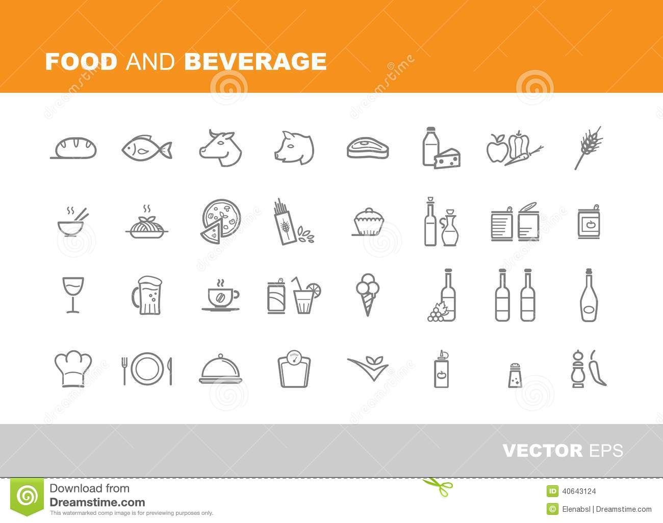 Food And Beverage Icons Stock Vector Image 40643124