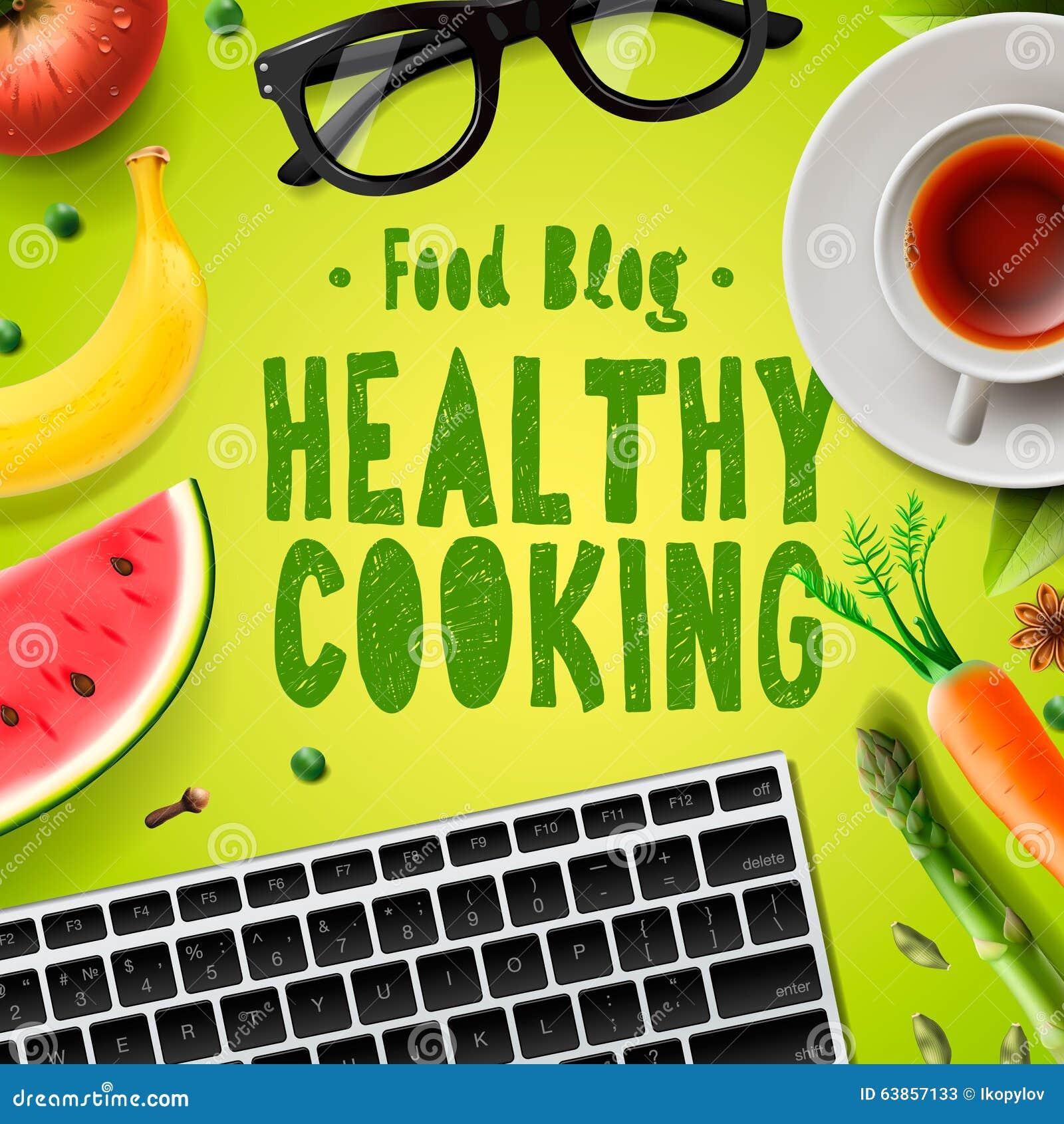 food blog healthy cooking recipes online stock illustration image 63857133. Black Bedroom Furniture Sets. Home Design Ideas