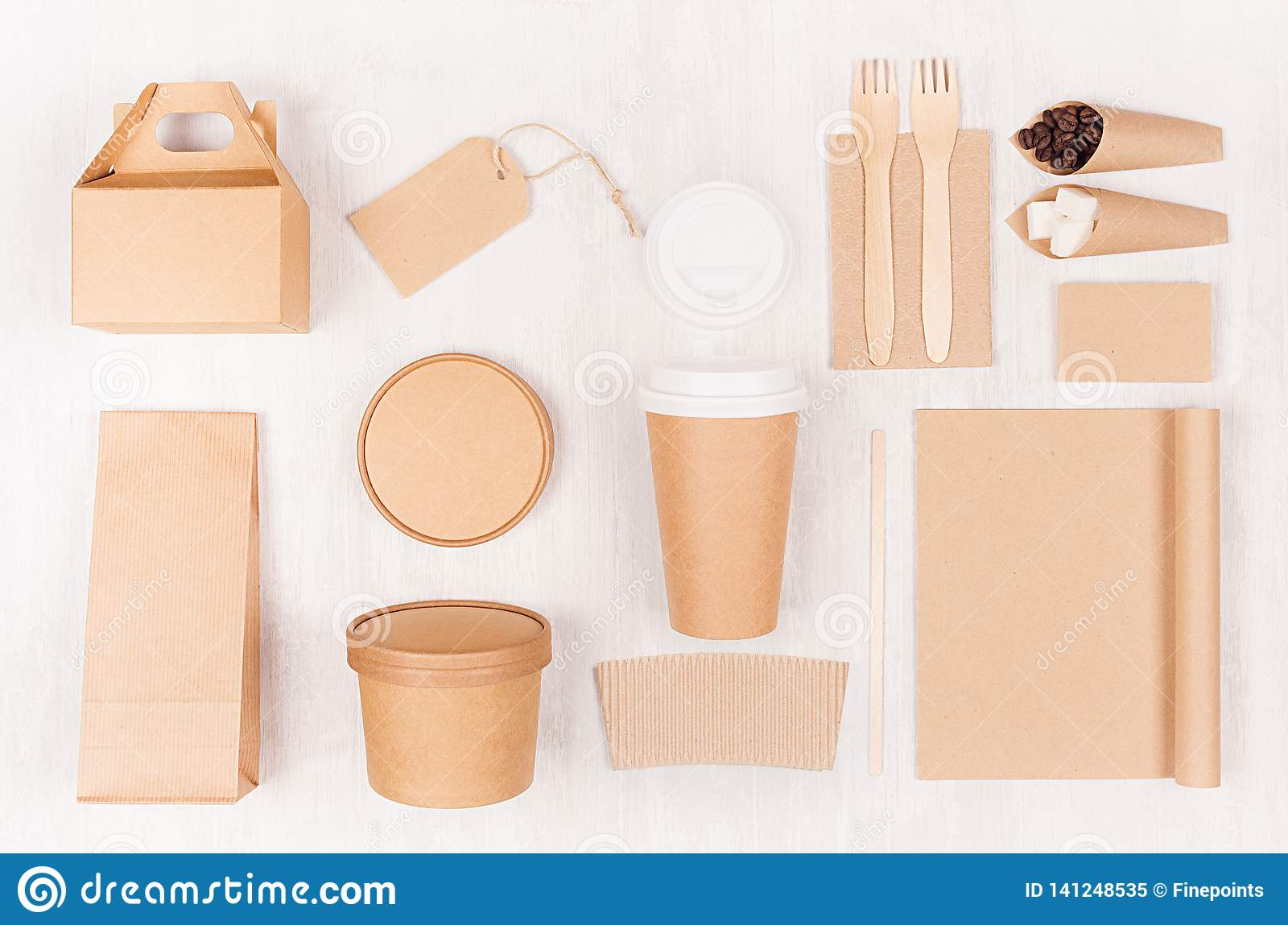 Food branding identity mockup in light modern style - blank coffee cup, packet, box, notebook, label, card of brown paper.