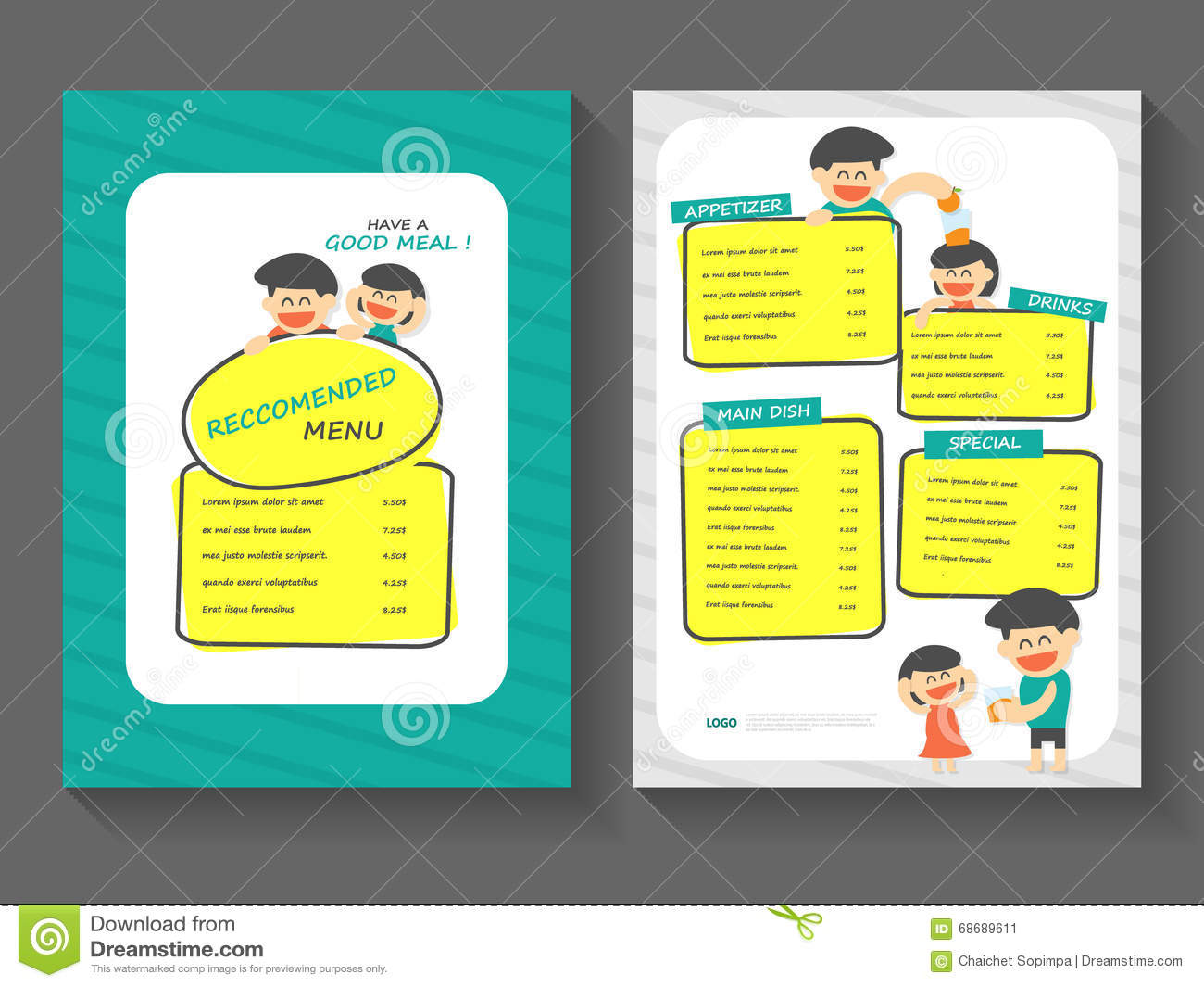 download food breakfast menu layout template a4 flat design set food with cartoon food menu