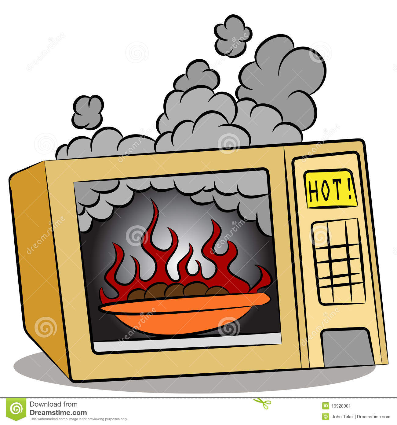 Microwave Oven Clip Art ~ Food burning in microwave oven stock vector illustration