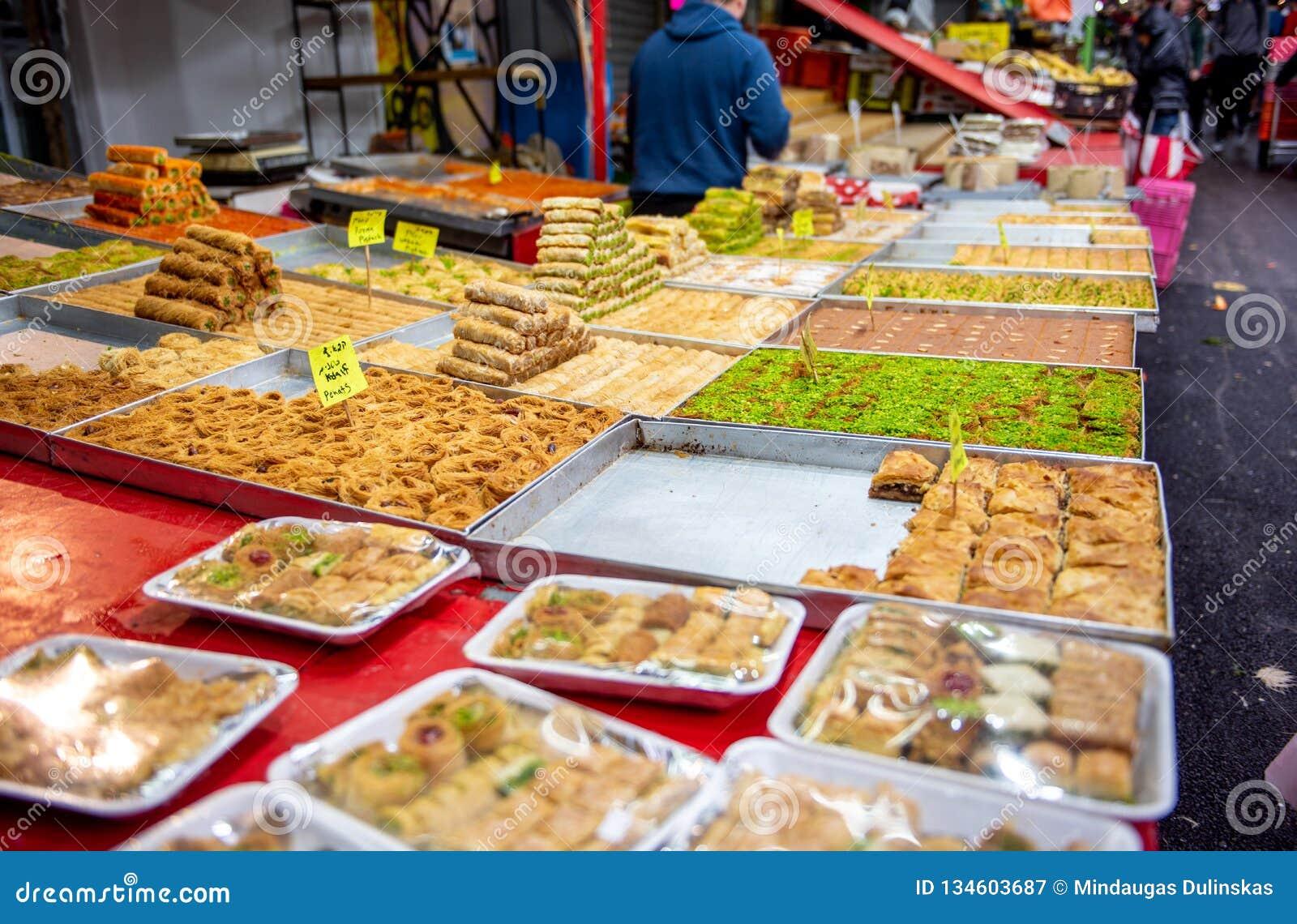 Food in Carmel Market, Tel Aviv, Isreal.