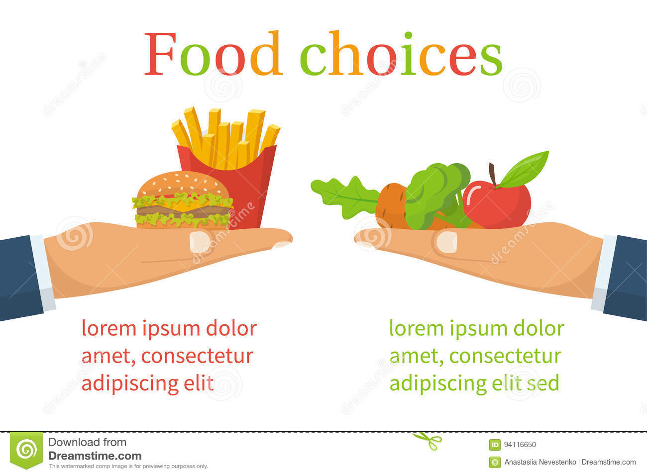 Food Choice Healthy And Junk Eating Stock Vector Illustration Of Hand Meal 94116650