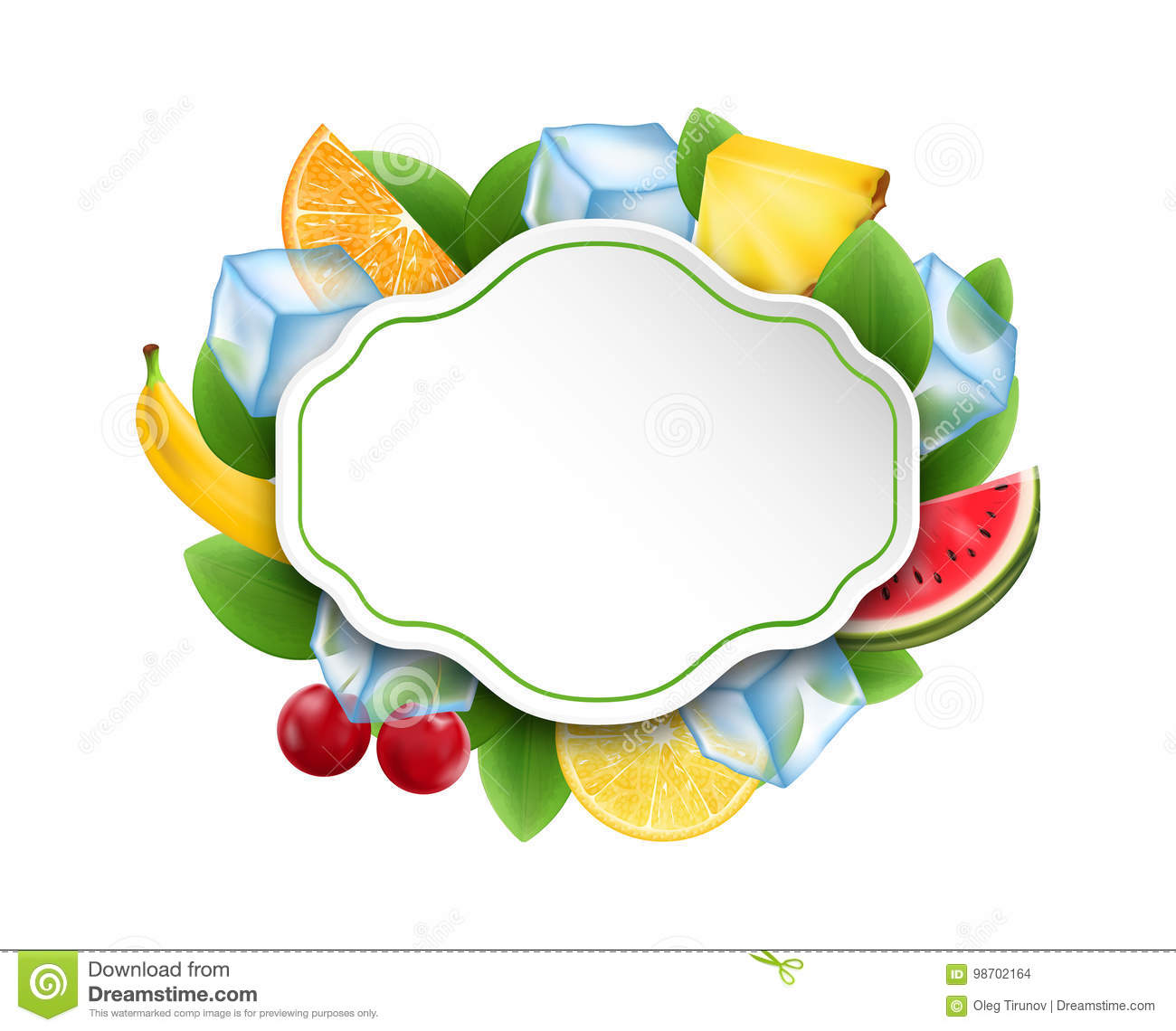 Food Clean Card with Fruits and Berries, Ice Cubes