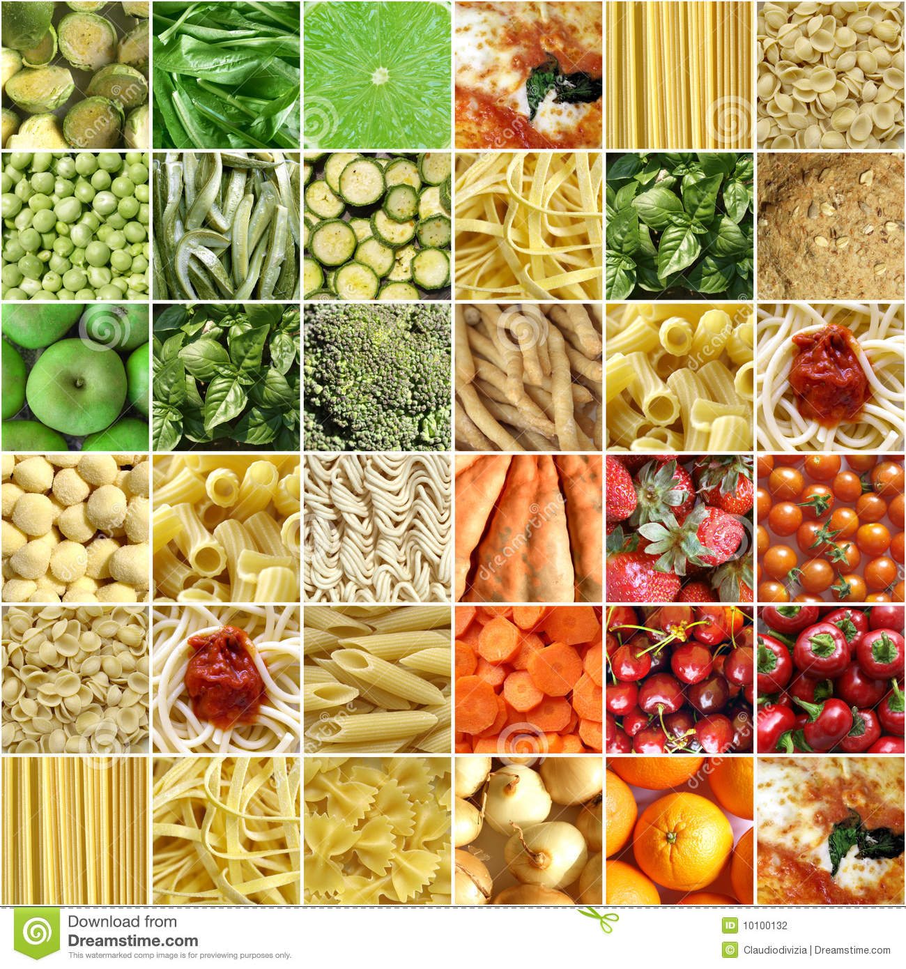 Food collage including pictures of vegetables, fruit, pasta and more.