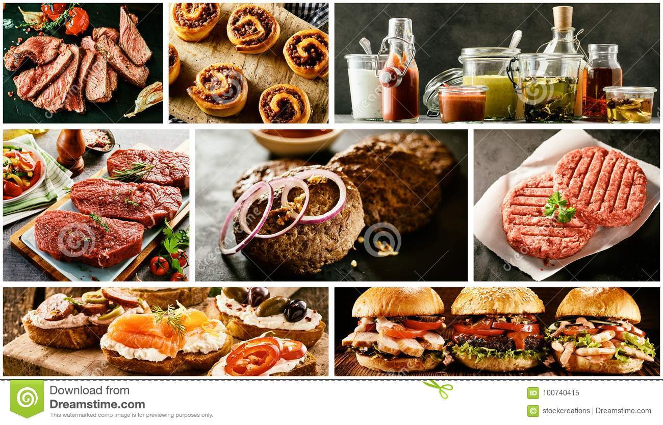 Food collage with barbecued meats and tapas