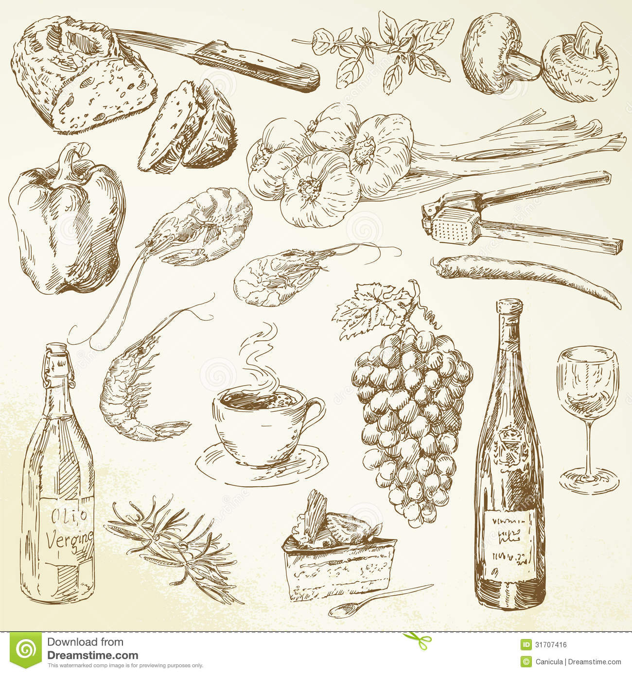 Food Collection - Drawing Royalty Free Stock Image - Image: 31707416