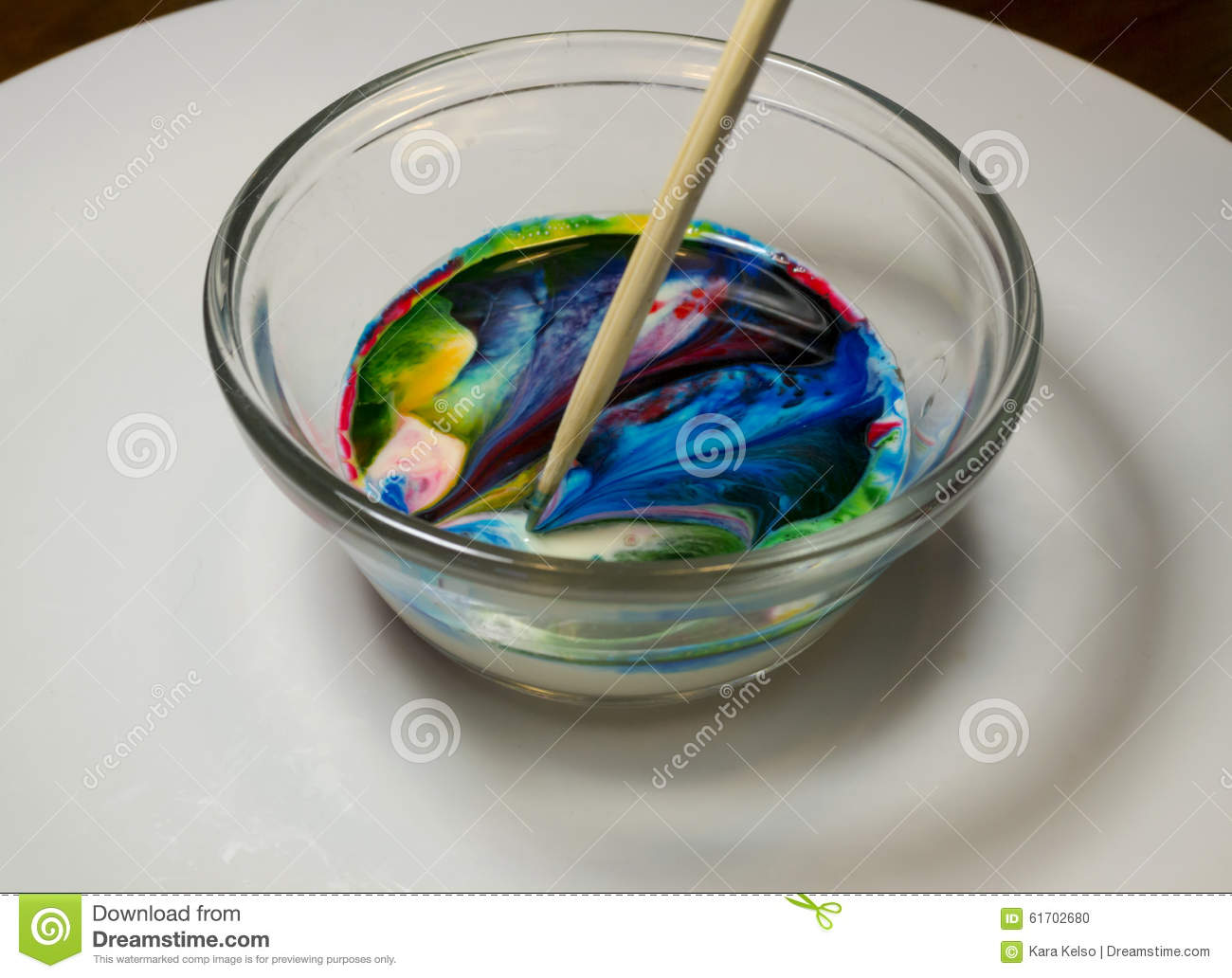 Food Coloring Art In Milk Kids Activity Stock Photo 61702680