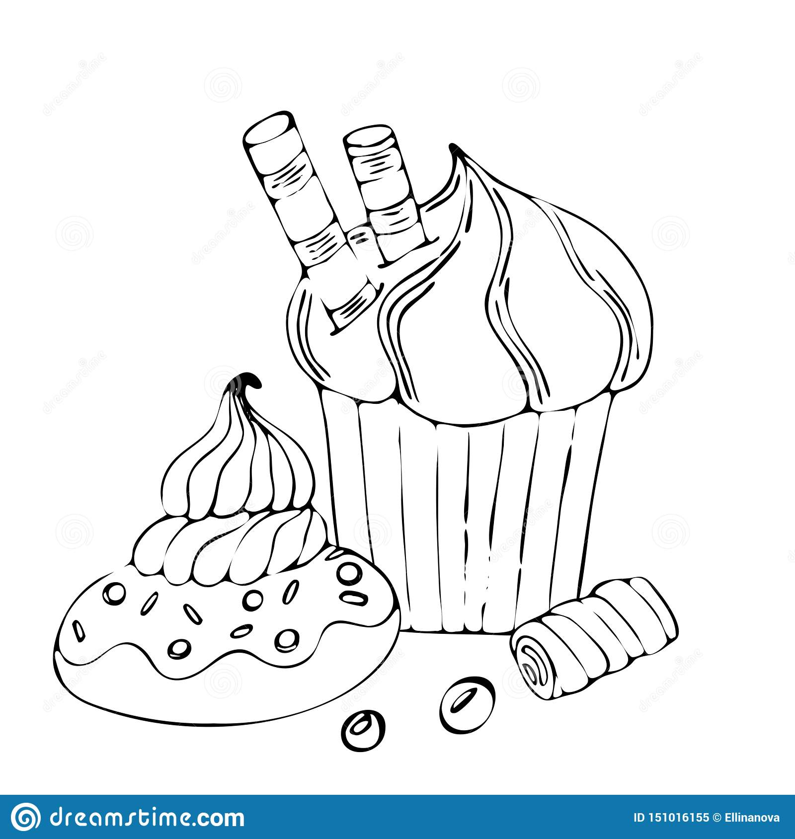 - Food Coloring Page With Cake Or Cupcake, Candy Stock Vector