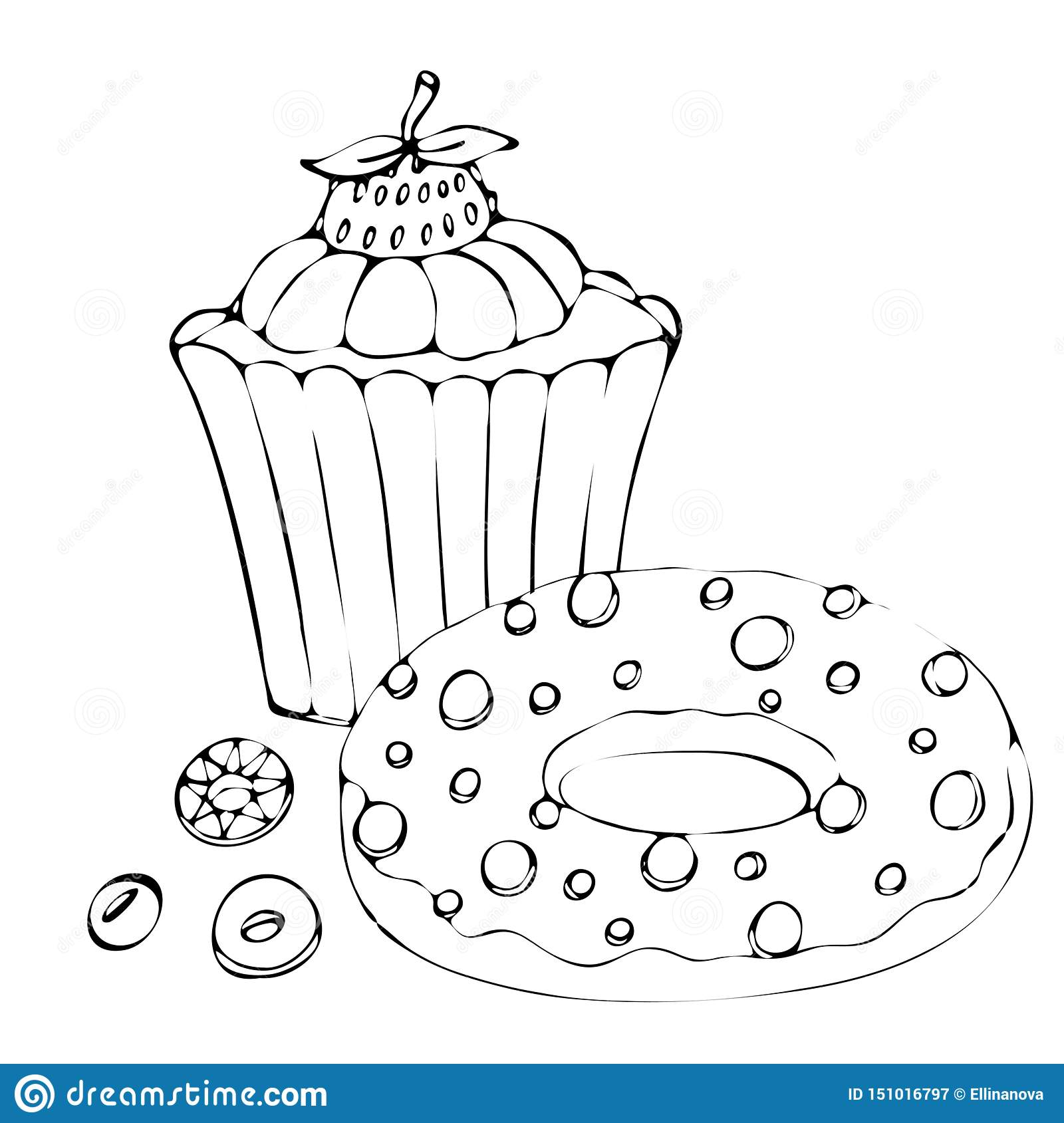 Food Coloring Page With Cake Or Cupcake, Candy Stock Vector ...