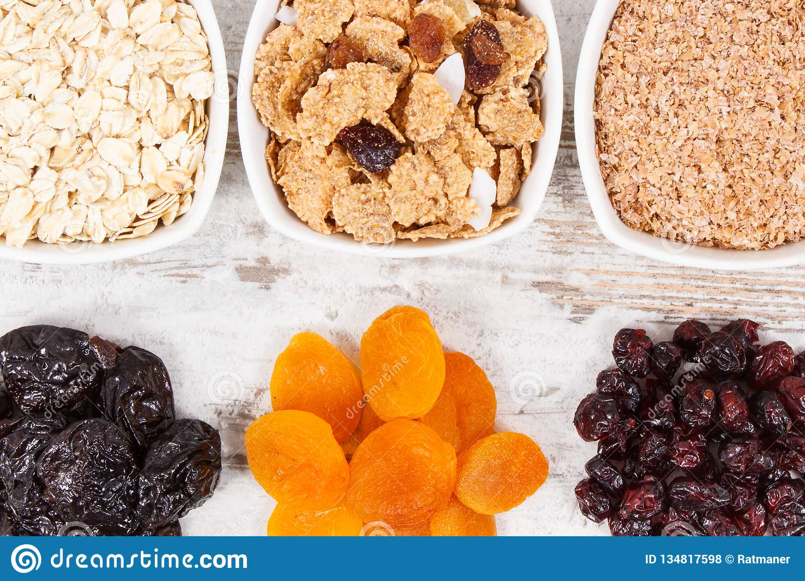 Food containing natural vitamins and dietary fiber, healthy nutrition concept