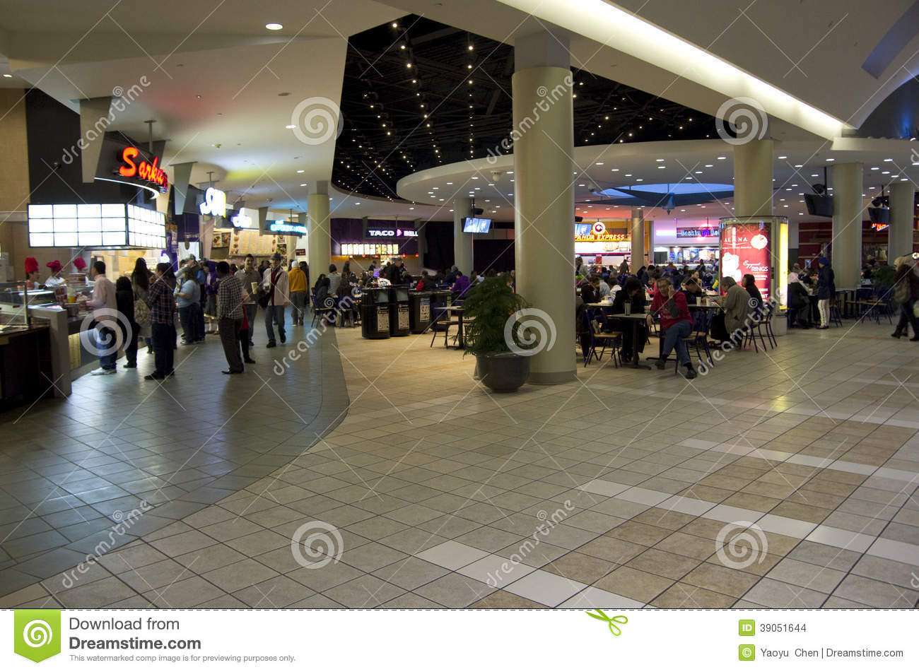 Food Court In Shopping Mall Editorial Stock Image - Image of light