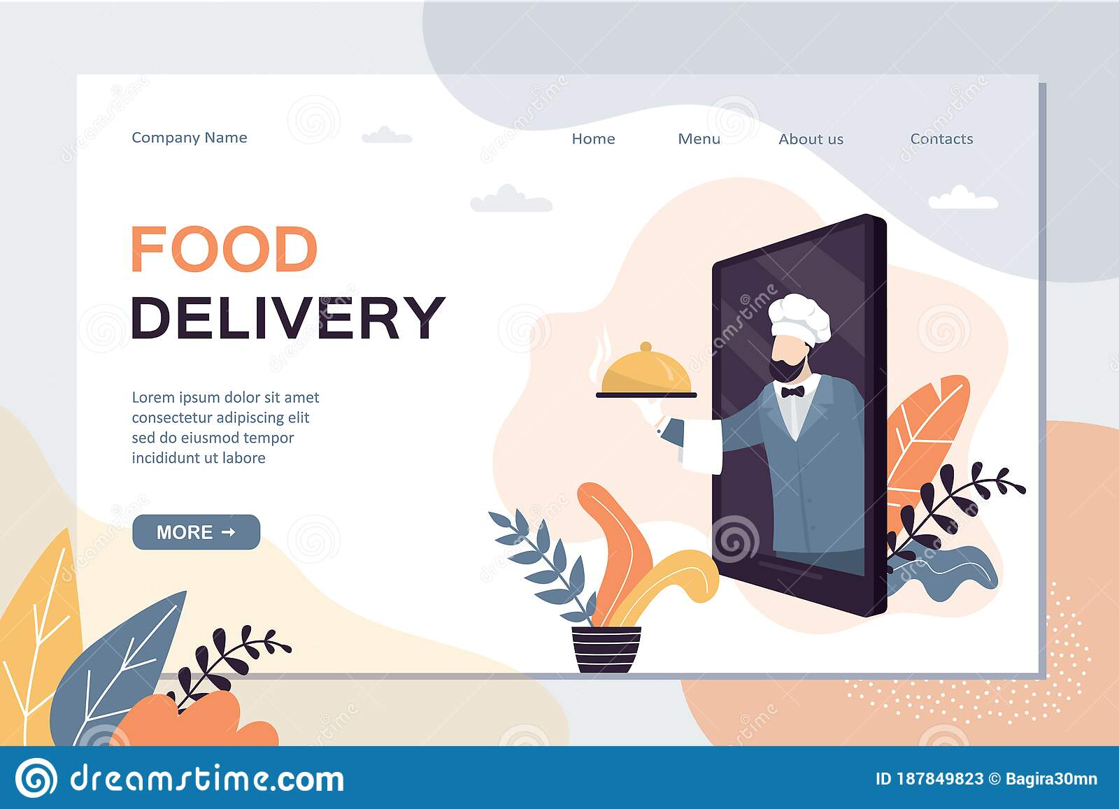 Food Delivery Landing Page Template Order And Delivery Of Food From Restaurant Or Cafe Stock Vector Illustration Of Eating Order 187849823