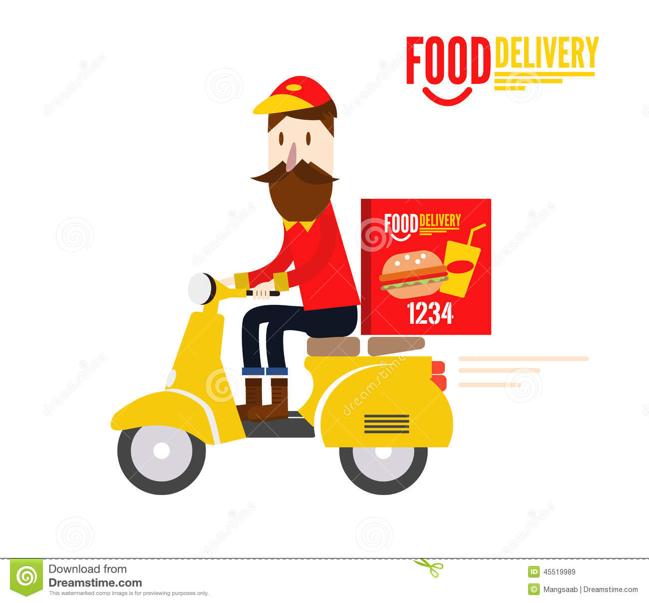 Food Delivery Man Is Riding Yellow Motor Bike Stock