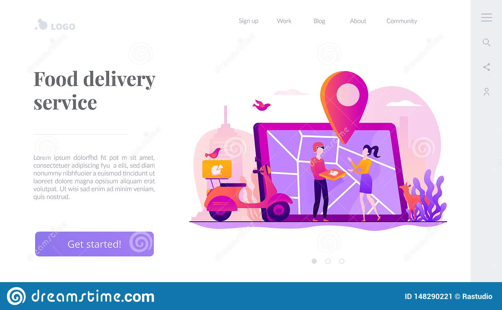 Food Delivery Service Landing Page Template  Stock Vector