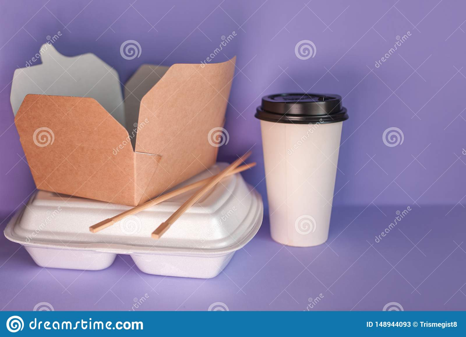 Food delivery service from restaurants and cafes. takeaway food containers.