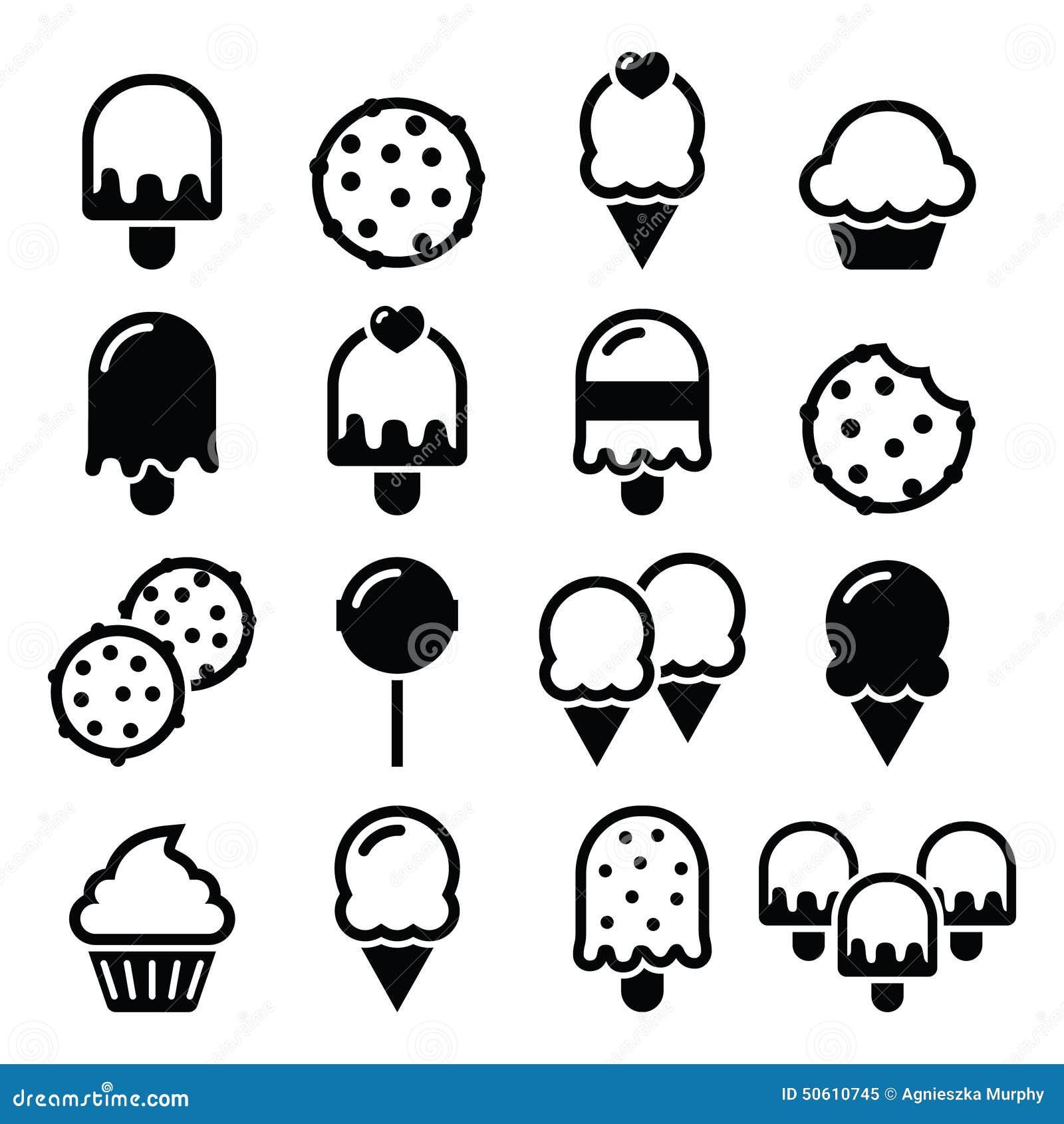 Food, Desserts Icons - Cupcake, Ice-cream, Cookie ...