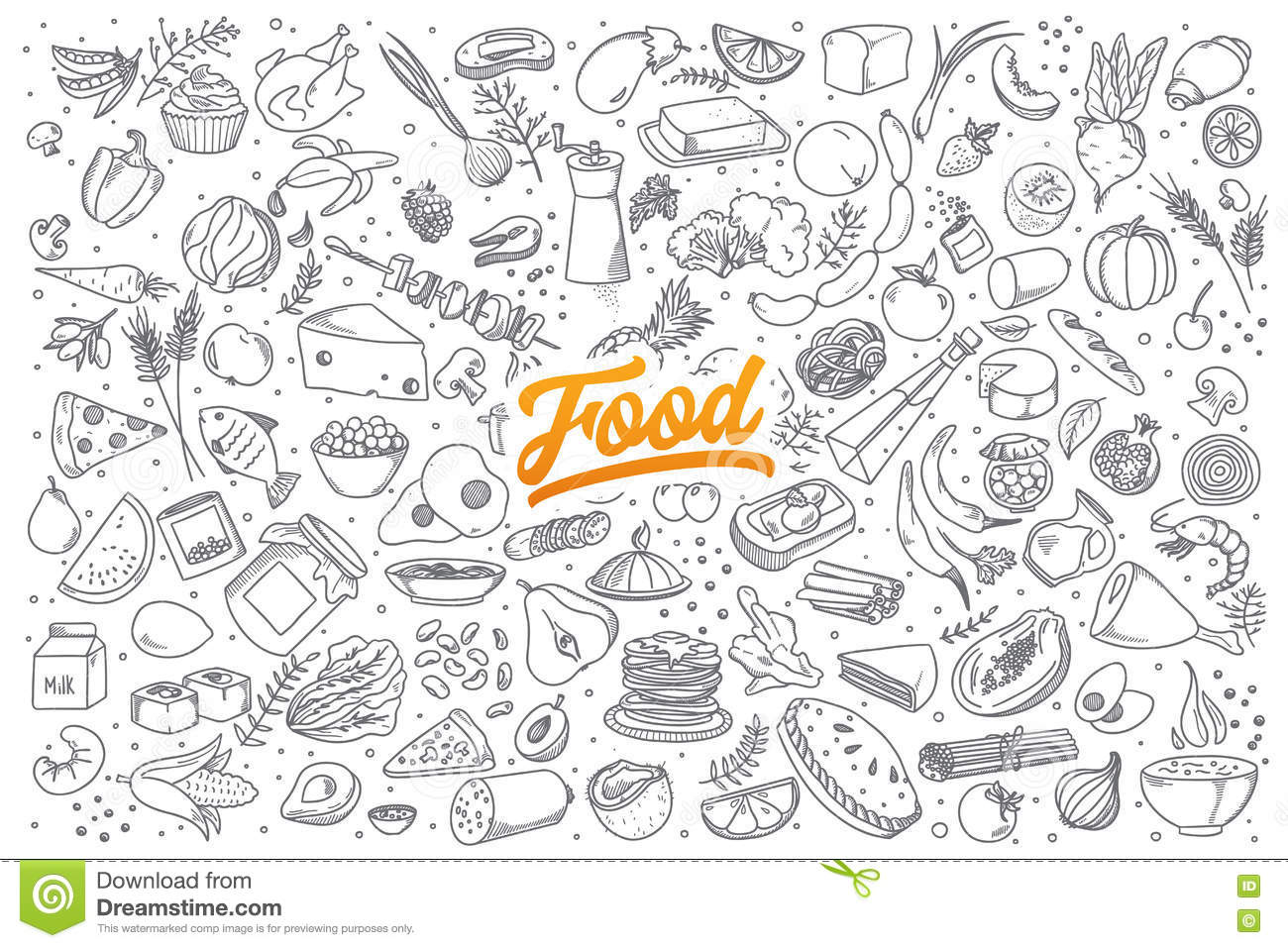 Food Doodle Set With Lettering Stock Vector Illustration Of Milk