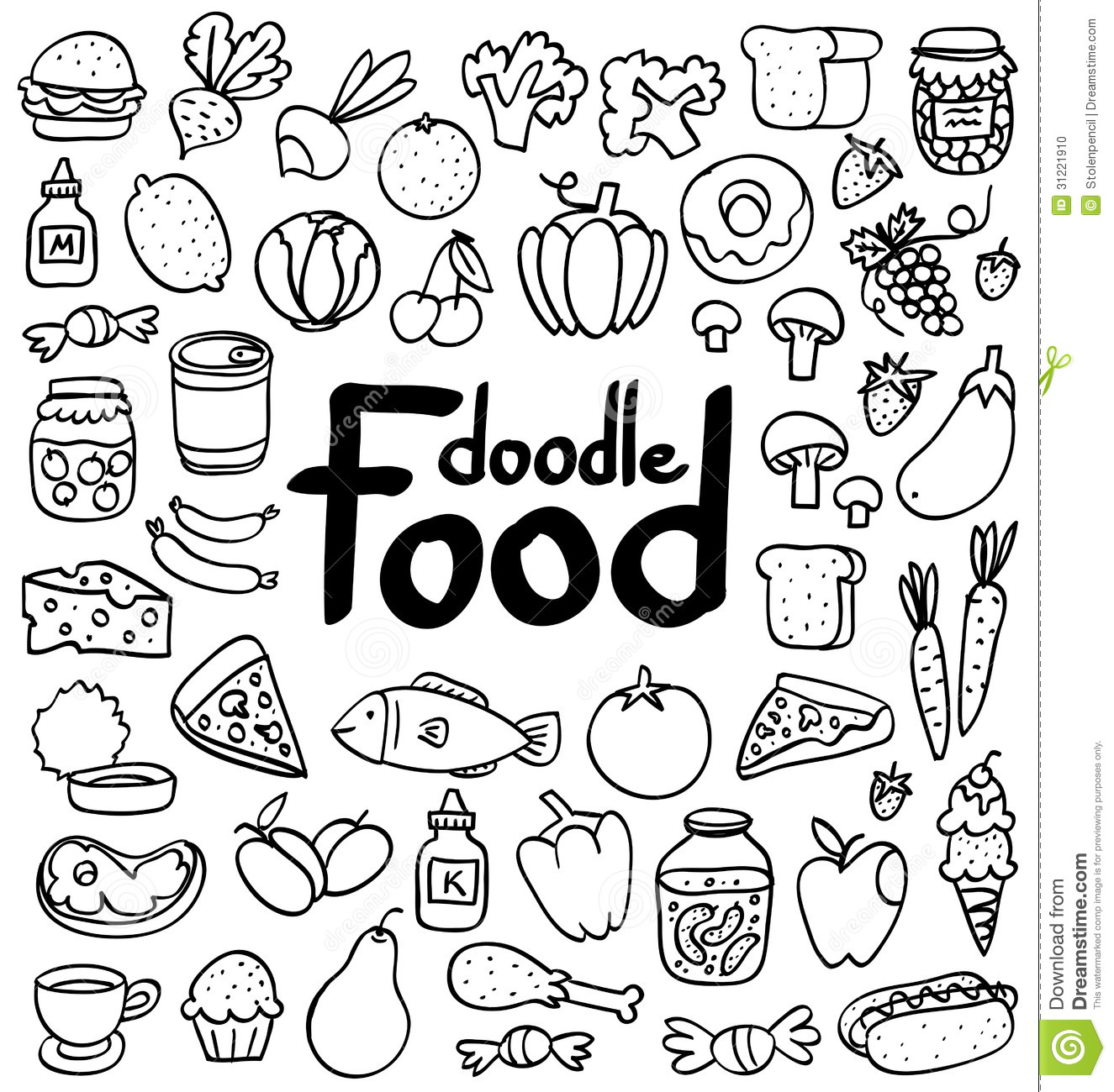 Doodle Food Set Of 50 Various Products Fruits Vegetables And Much