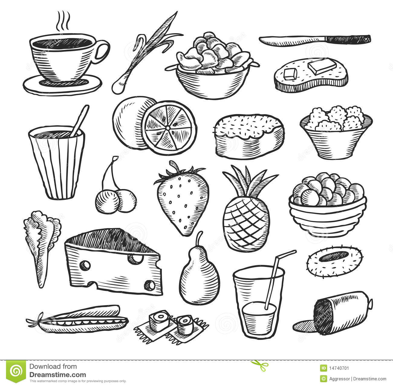 Food Doodles Stock Image Image 14740701