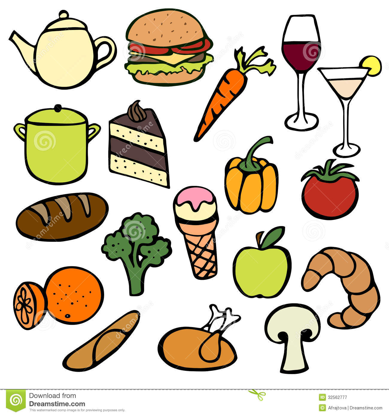 Kitchen Tools Drawings Food Doodles Royalty Free Stock Photography  Image 32562777